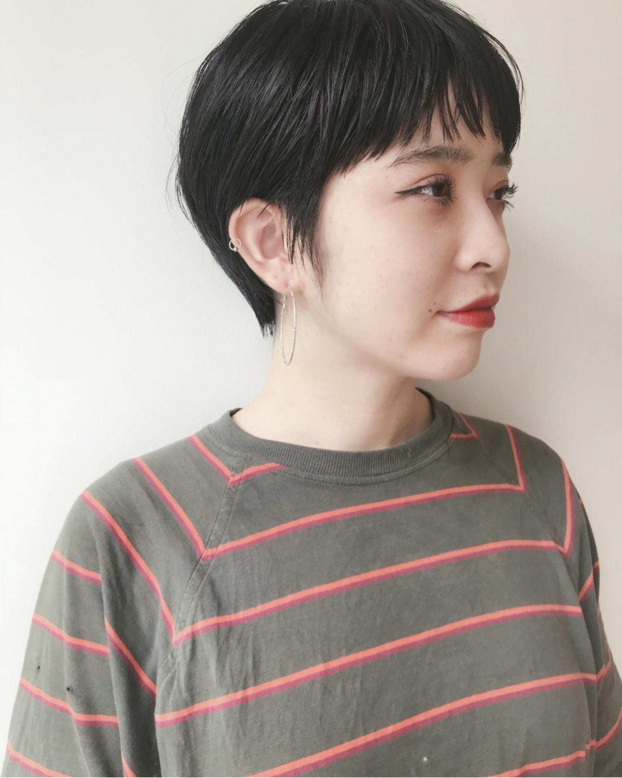ナチュラル 黒髪 ショート マッシュ ヘアスタイルや髪型の写真・画像