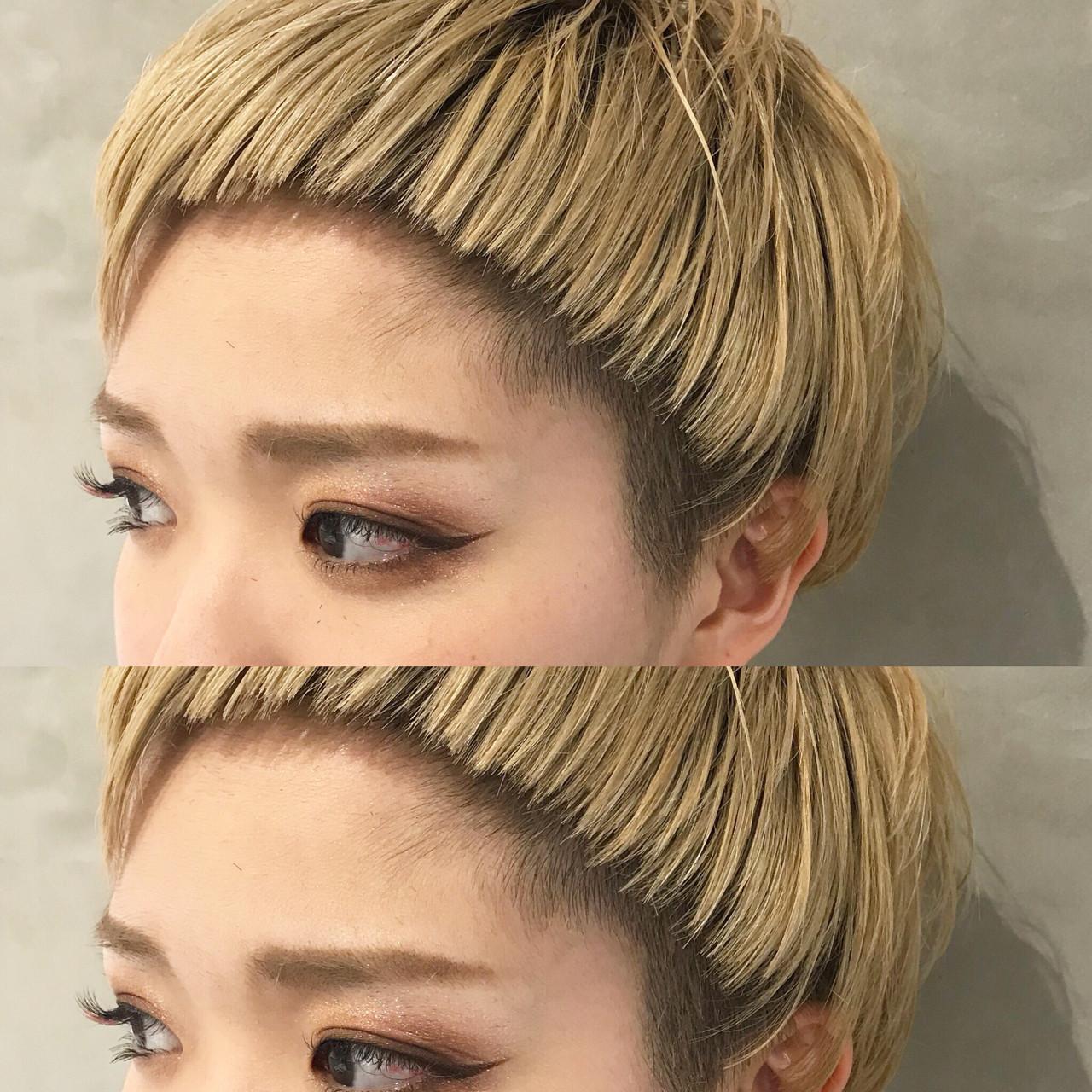 ベリーショート 前髪パッツン オン眉 ショートバング ヘアスタイルや髪型の写真・画像