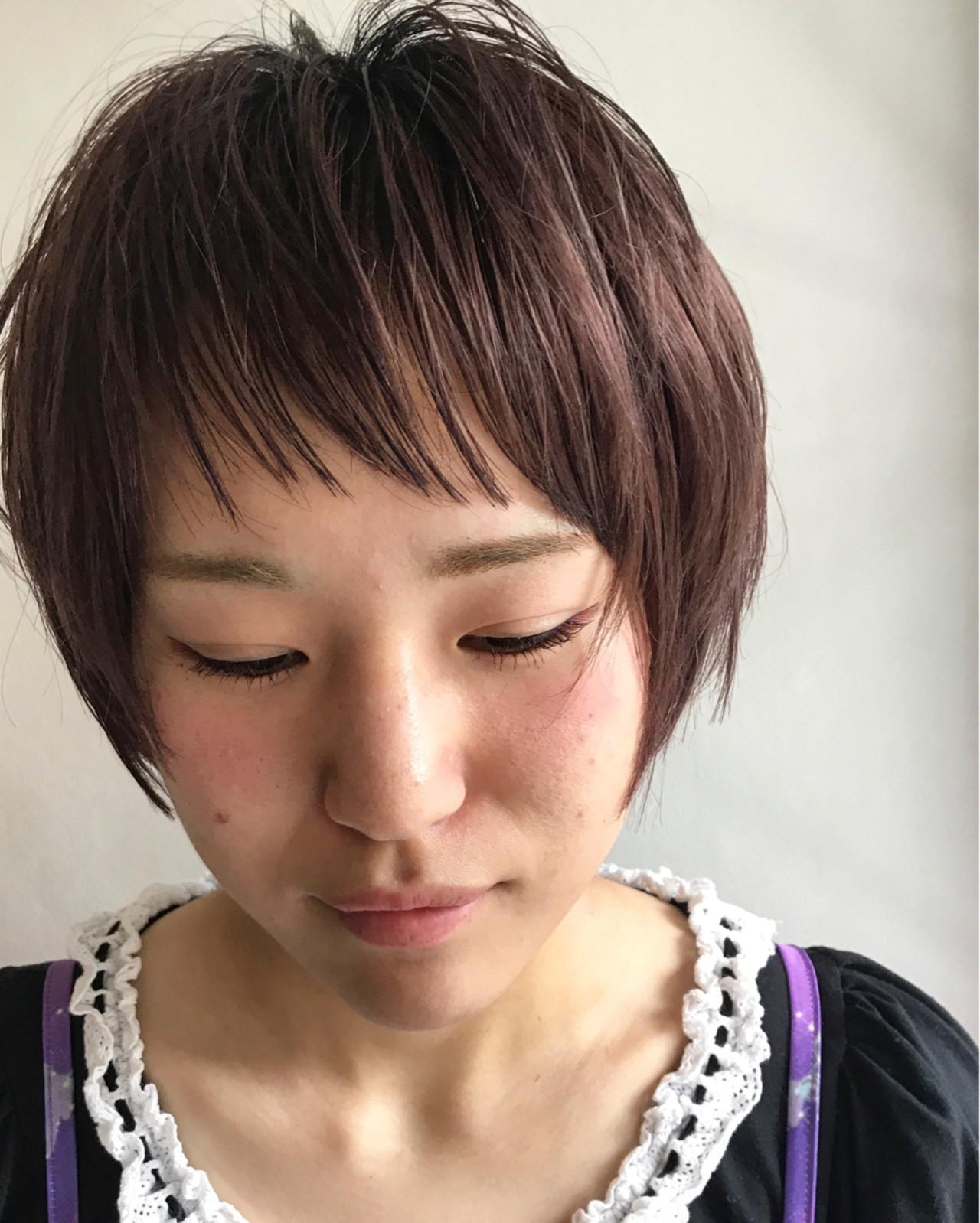 前髪あり ブリーチ シースルーバング ショート ヘアスタイルや髪型の写真・画像