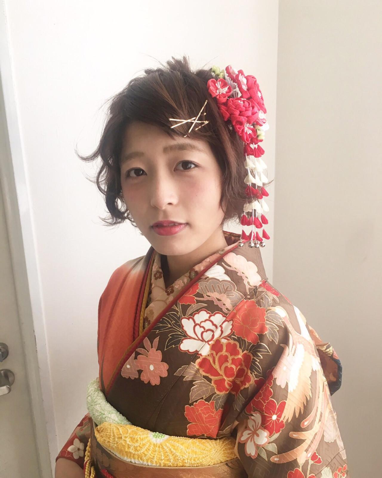 フェミニン 着物 ショート ヘアアレンジ ヘアスタイルや髪型の写真・画像