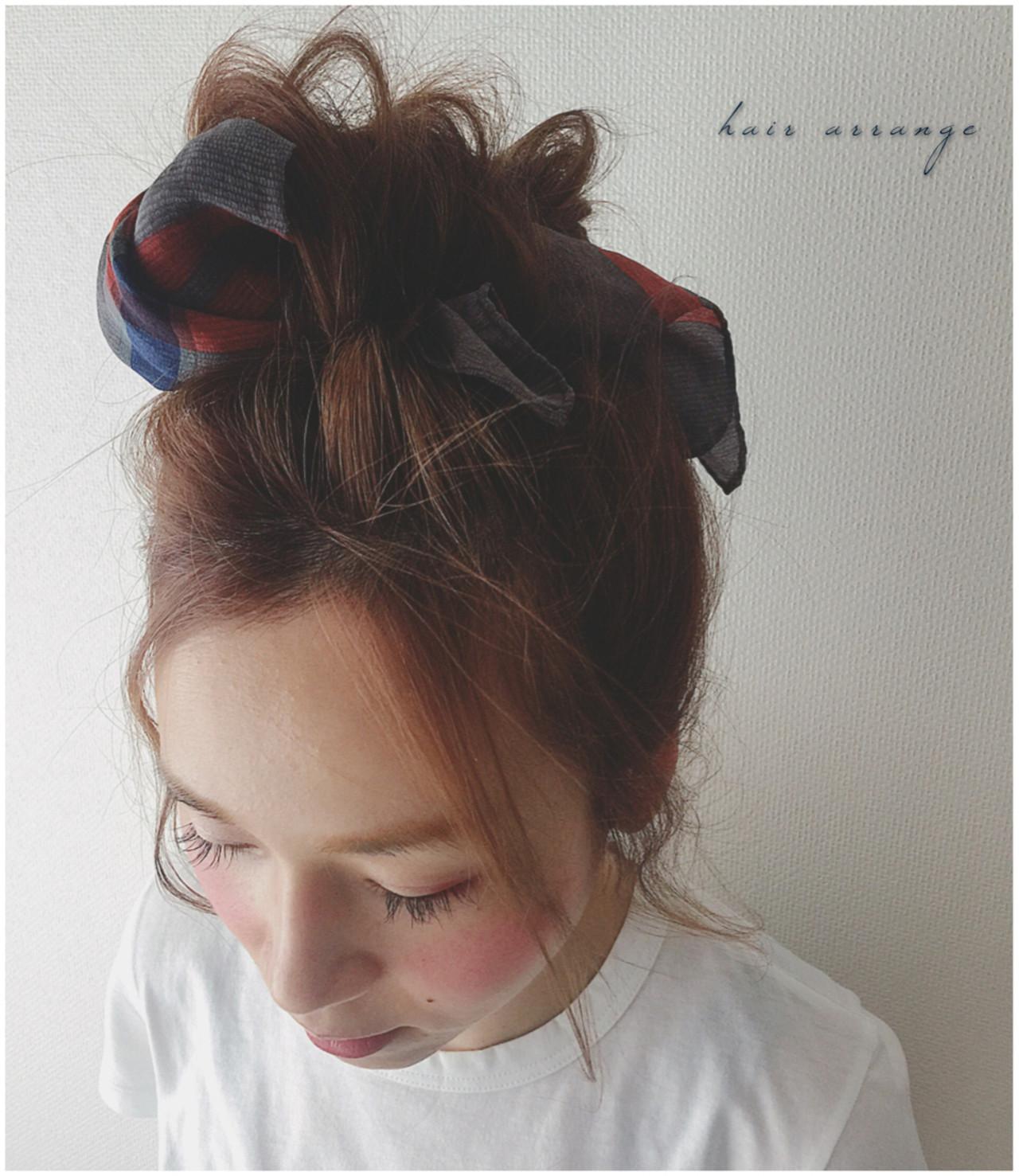 ショート ヘアアクセ ヘアアレンジ バンダナ ヘアスタイルや髪型の写真・画像