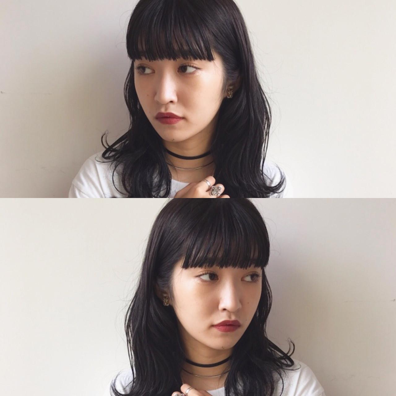 黒髪 ミディアム デート 簡単ヘアアレンジ ヘアスタイルや髪型の写真・画像