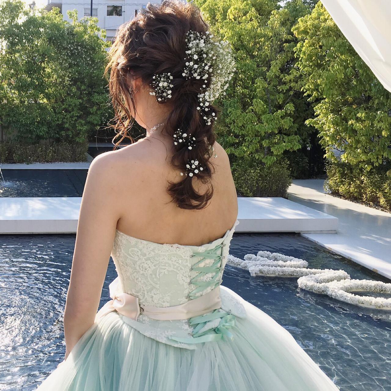 ヘアアレンジ ロング 結婚式 花嫁 ヘアスタイルや髪型の写真・画像