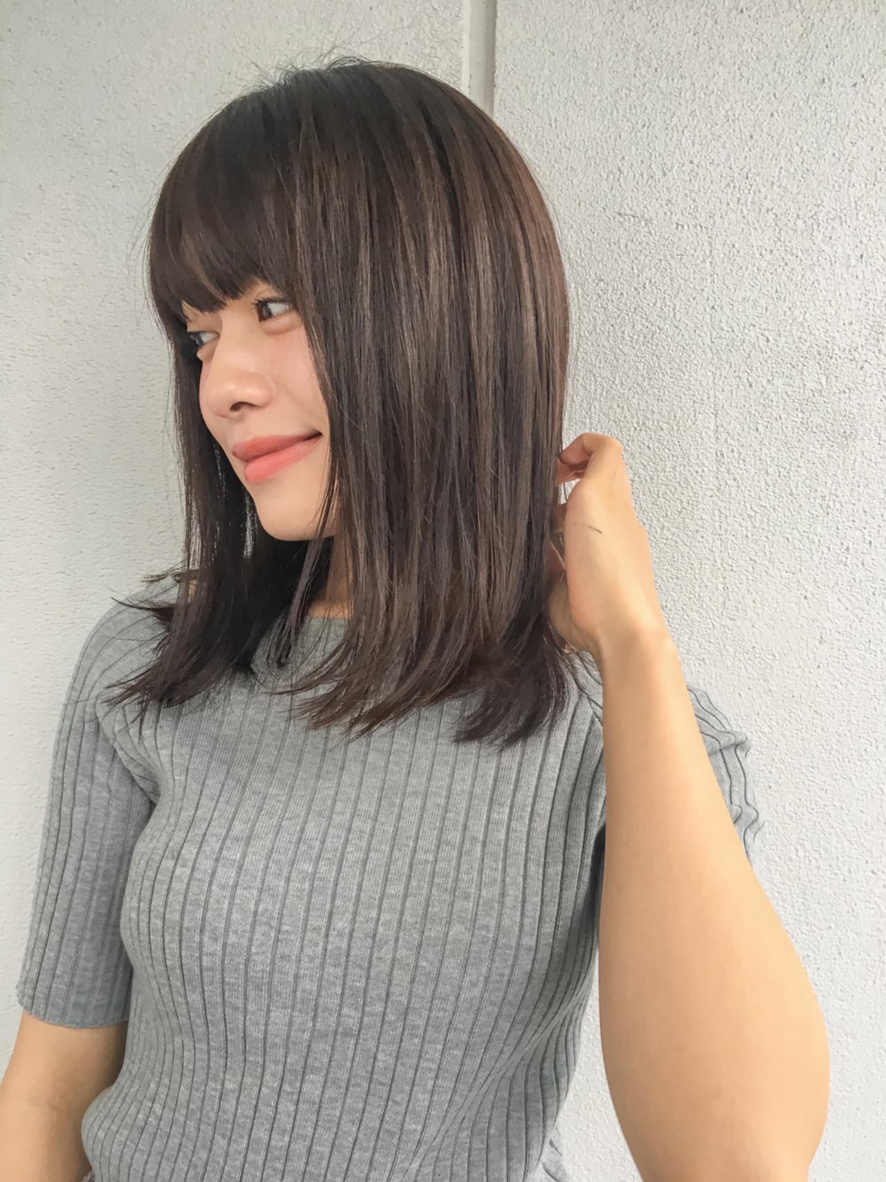 ミディアム 暗髪 コンサバ 冬 ヘアスタイルや髪型の写真・画像