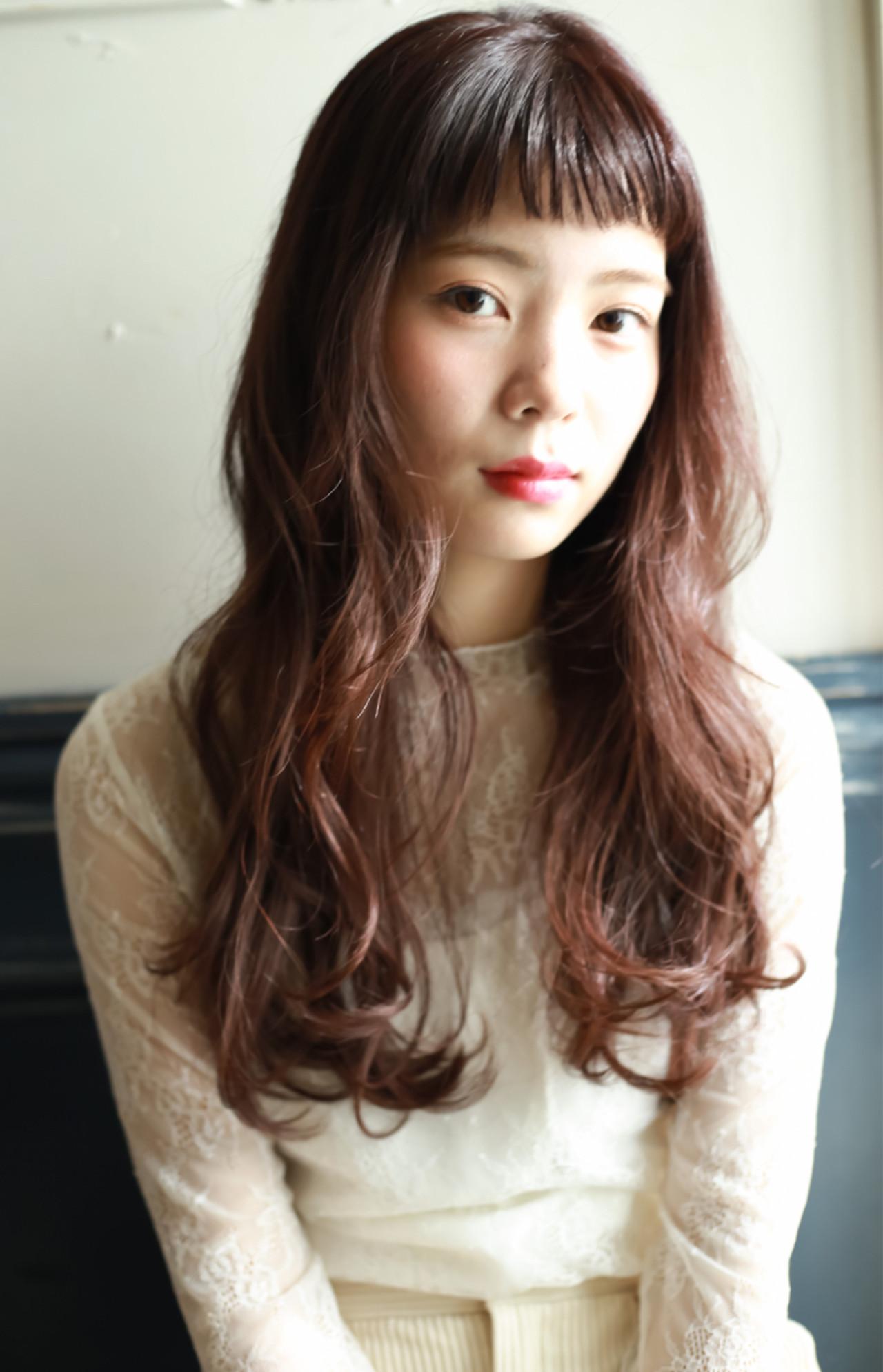 ショートバング ヘアアレンジ ロング フェミニン ヘアスタイルや髪型の写真・画像