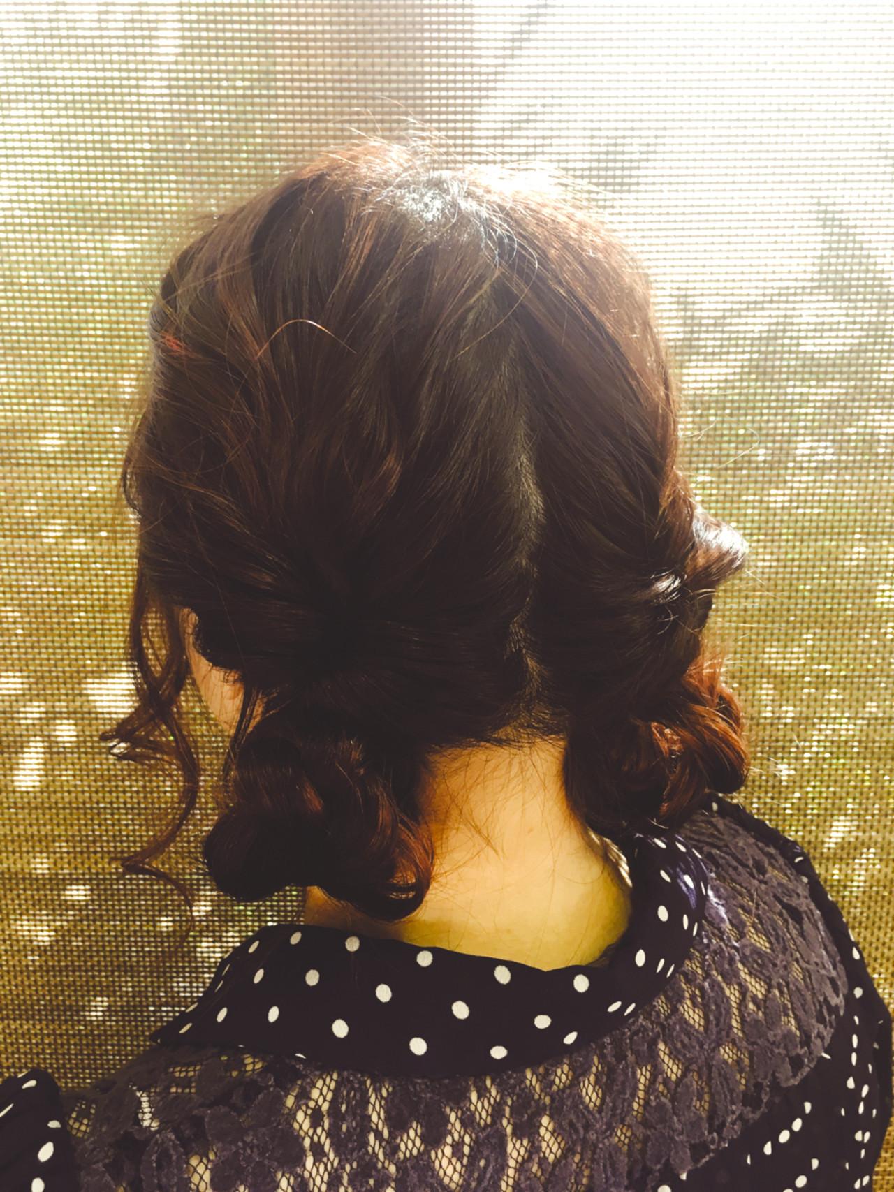 ヘアアレンジ お団子 セミロング くるりんぱ ヘアスタイルや髪型の写真・画像