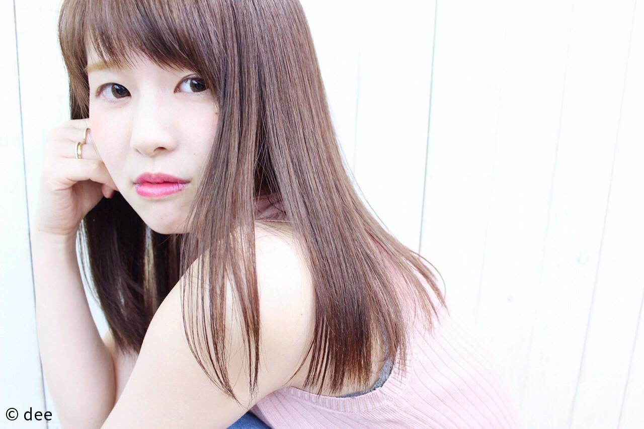 縮毛矯正 ロング 斜め前髪 リラックス ヘアスタイルや髪型の写真・画像