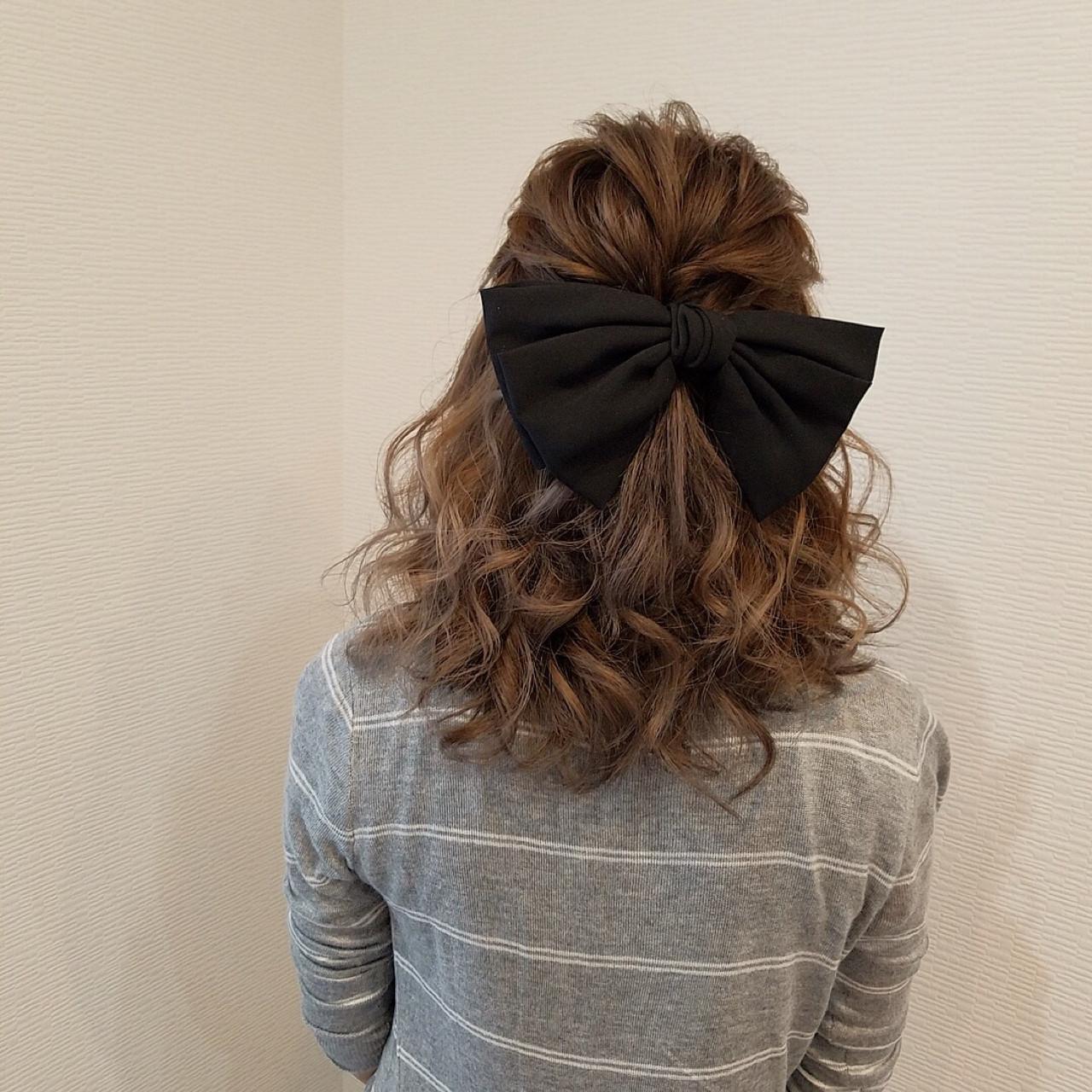 ガーリー 結婚式 ミディアム ヘアアレンジ ヘアスタイルや髪型の写真・画像