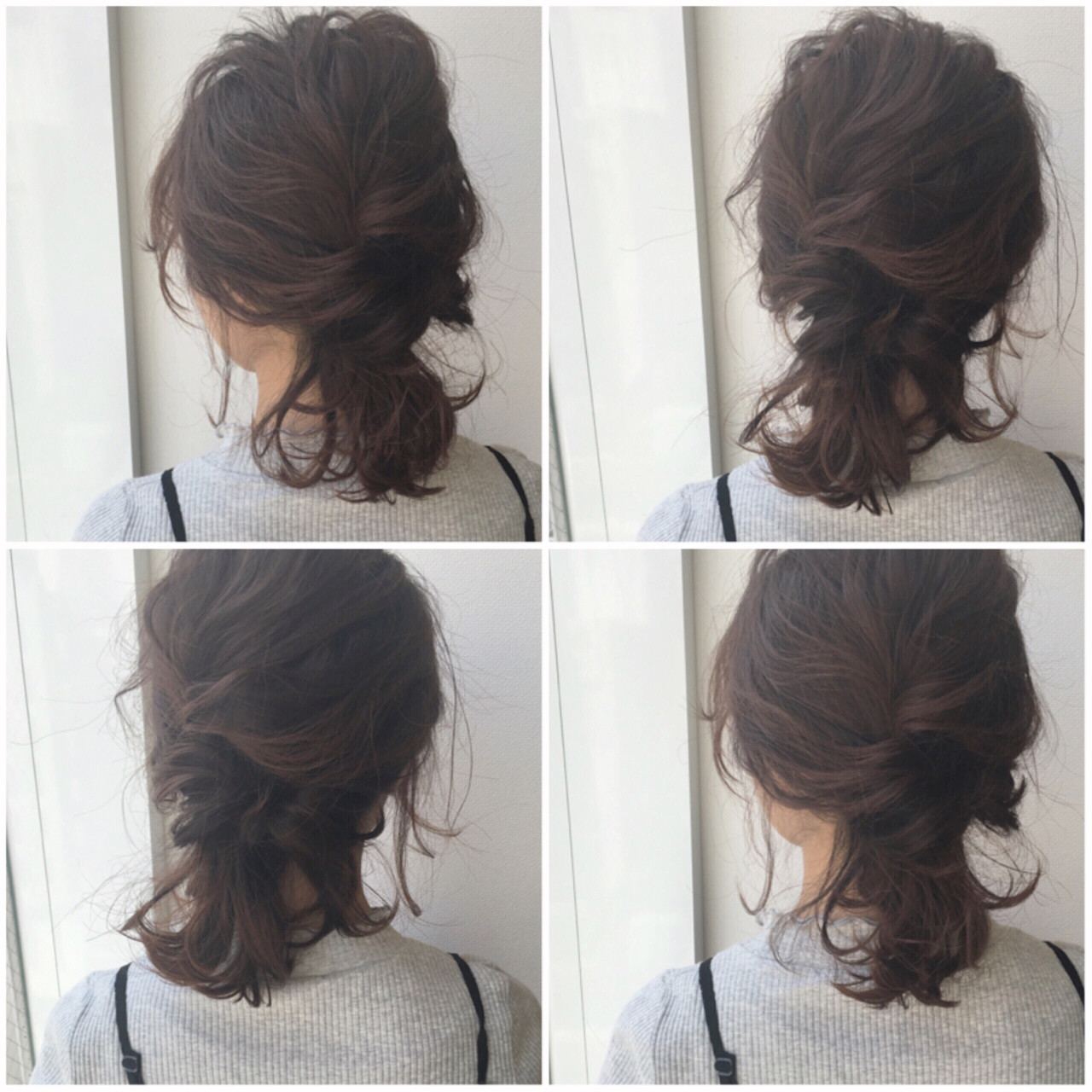 くるりんぱ ヘアアレンジ ボブ シニヨン ヘアスタイルや髪型の写真・画像