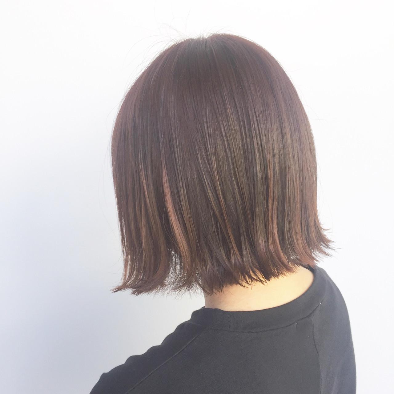 切りっぱなし ピンク ガーリー レッド ヘアスタイルや髪型の写真・画像