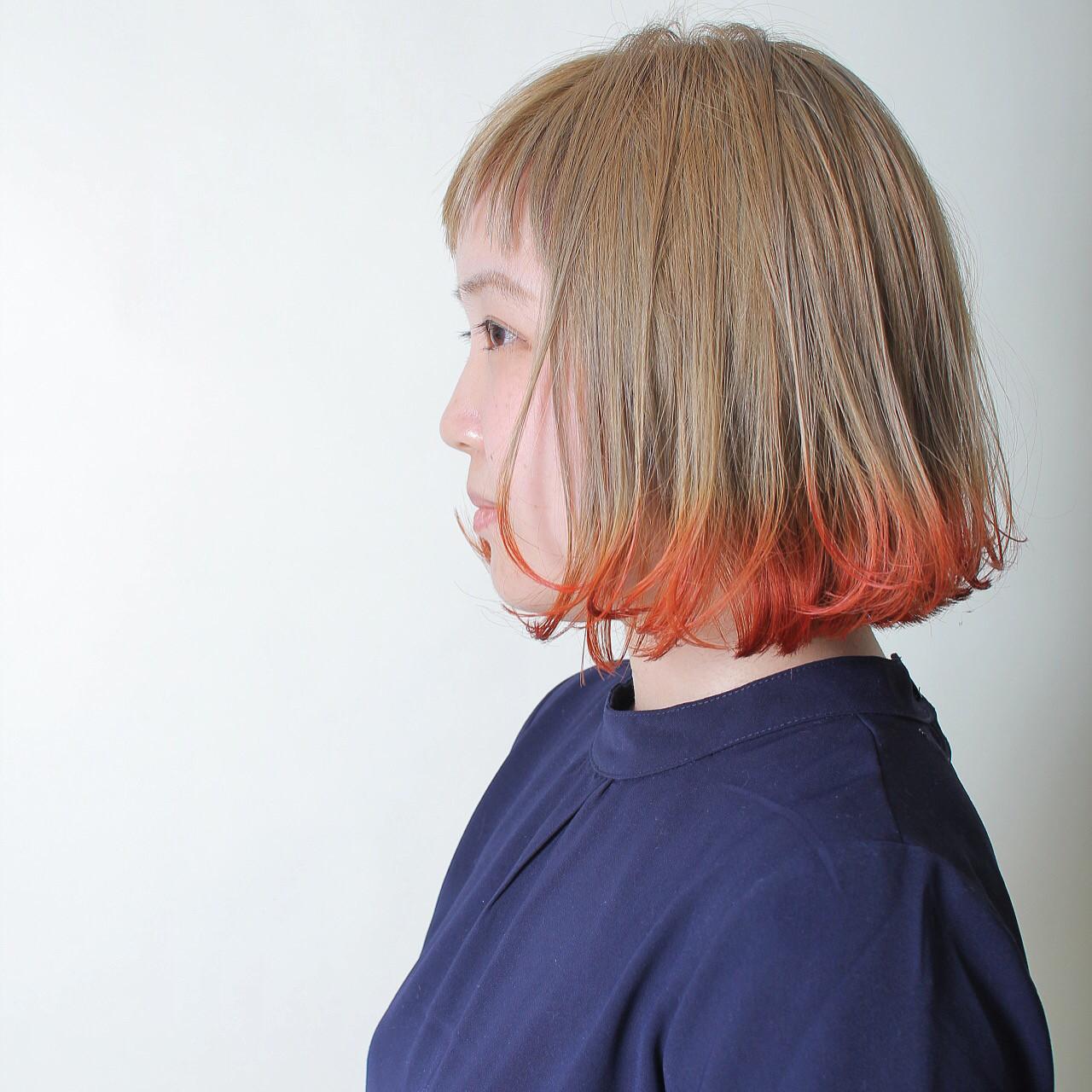 ナチュラル グラデーションカラー オレンジ レッド ヘアスタイルや髪型の写真・画像