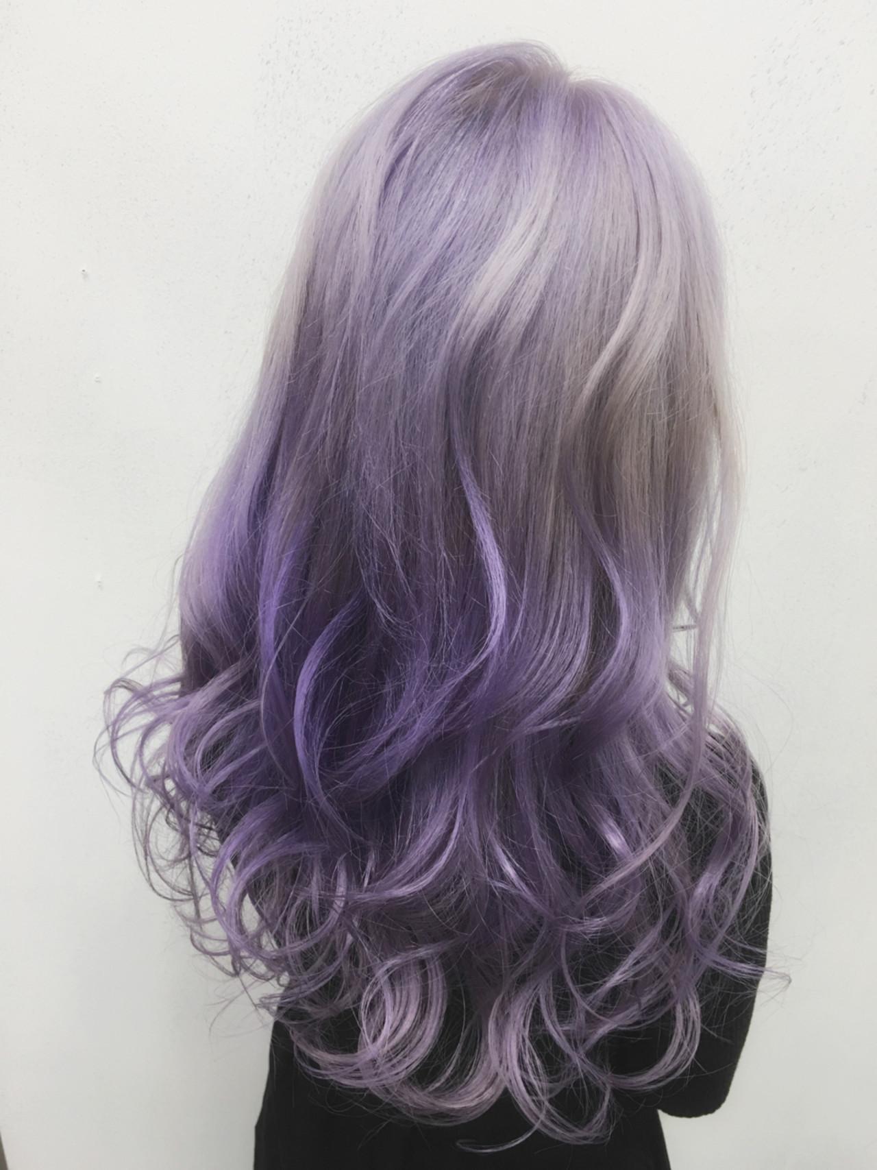 かわいい ハイトーン ロング ガーリー ヘアスタイルや髪型の写真・画像