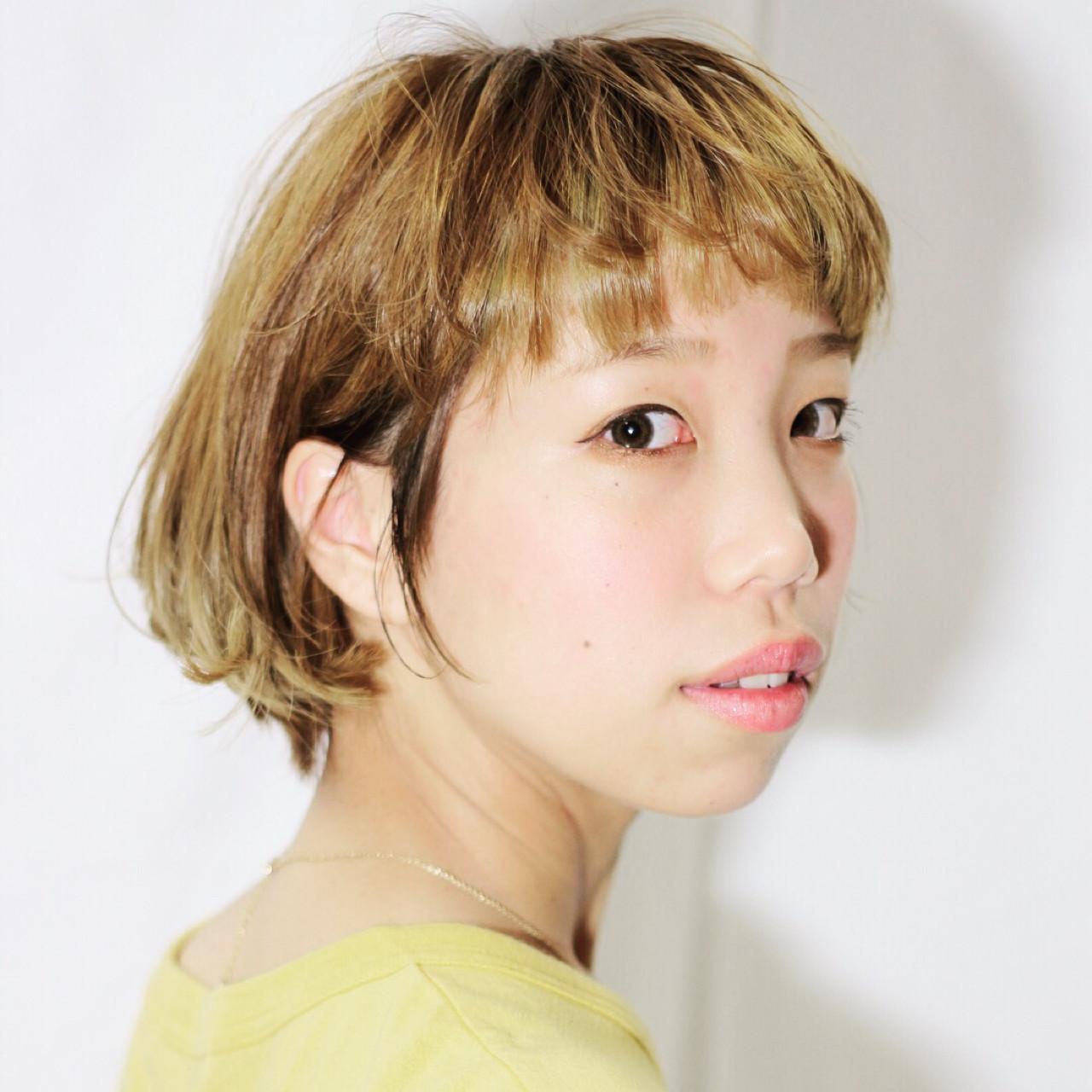 夏 簡単 ショート オン眉 ヘアスタイルや髪型の写真・画像