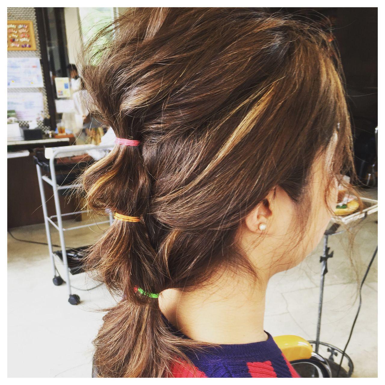 ミディアム 簡単ヘアアレンジ 時短 ゆるふわ ヘアスタイルや髪型の写真・画像
