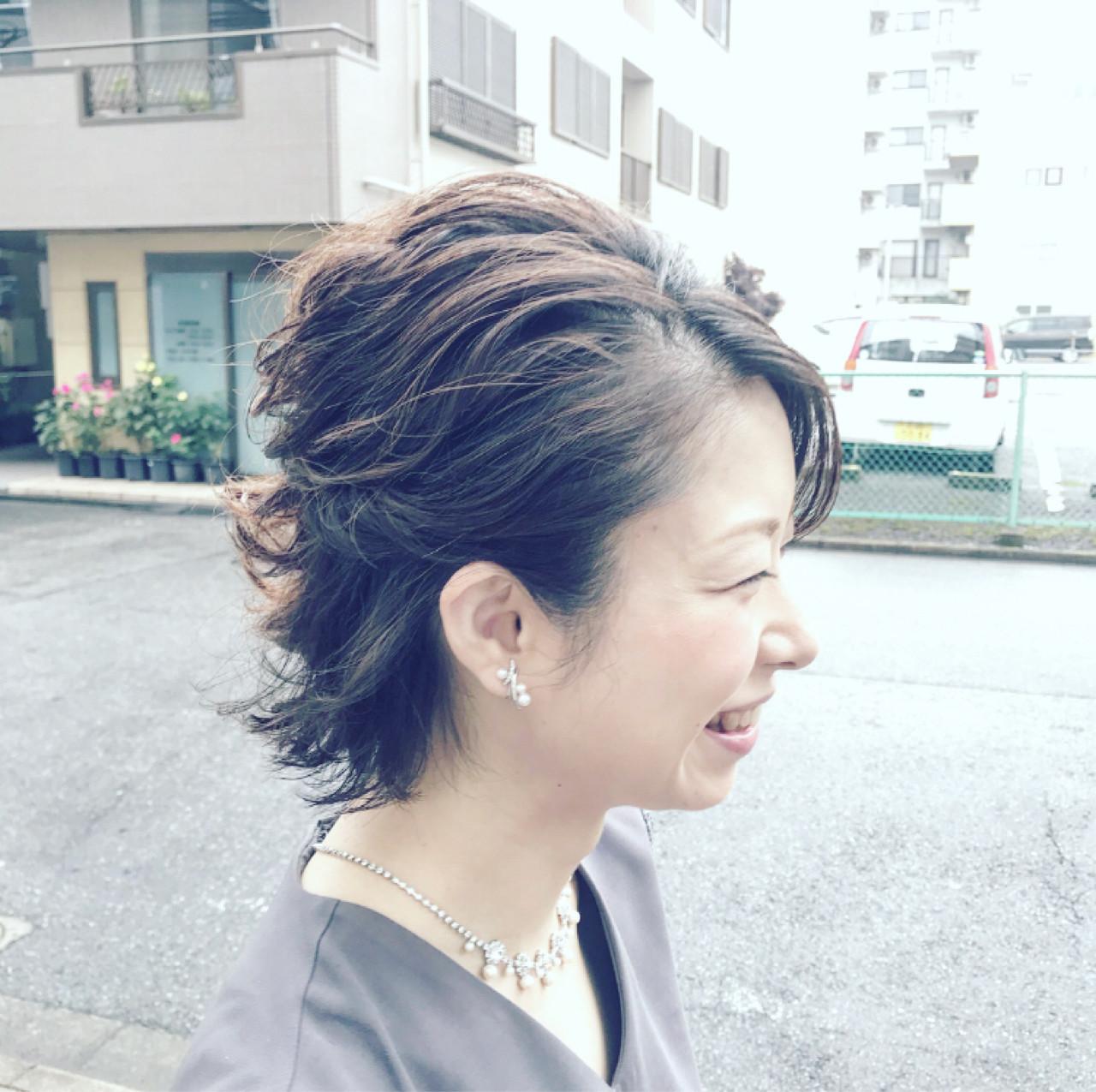 大人女子 ショート コンサバ ヘアアレンジ ヘアスタイルや髪型の写真・画像