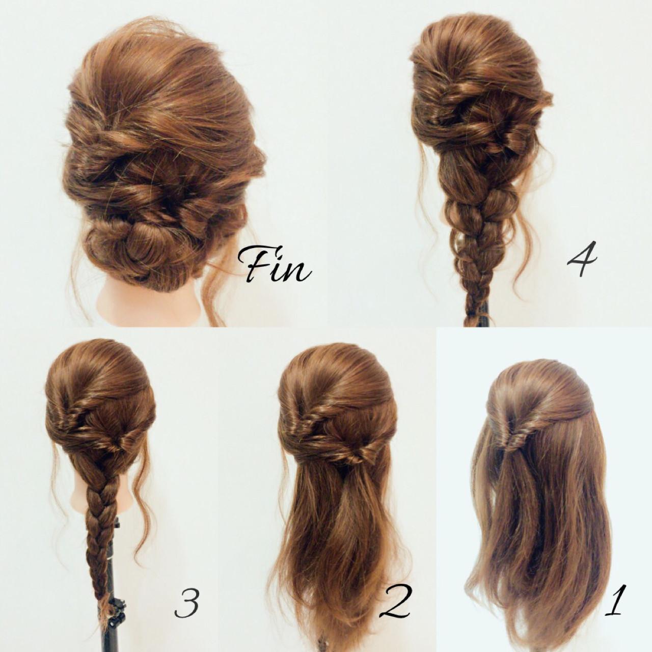 ヘアアレンジ くるりんぱ ミディアム 春 ヘアスタイルや髪型の写真・画像