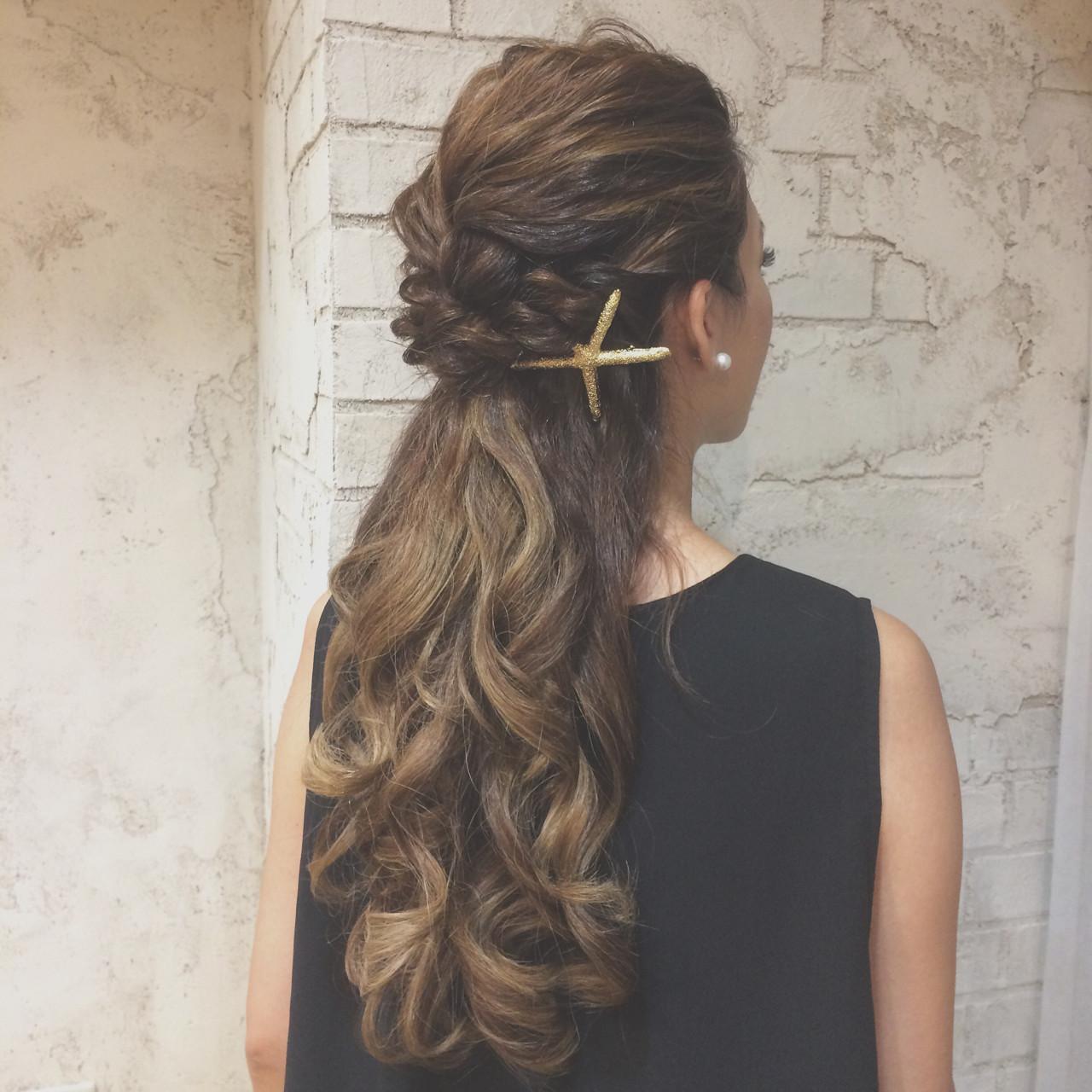 ヘアアレンジ ハーフアップ ショート 外国人風 ヘアスタイルや髪型の写真・画像