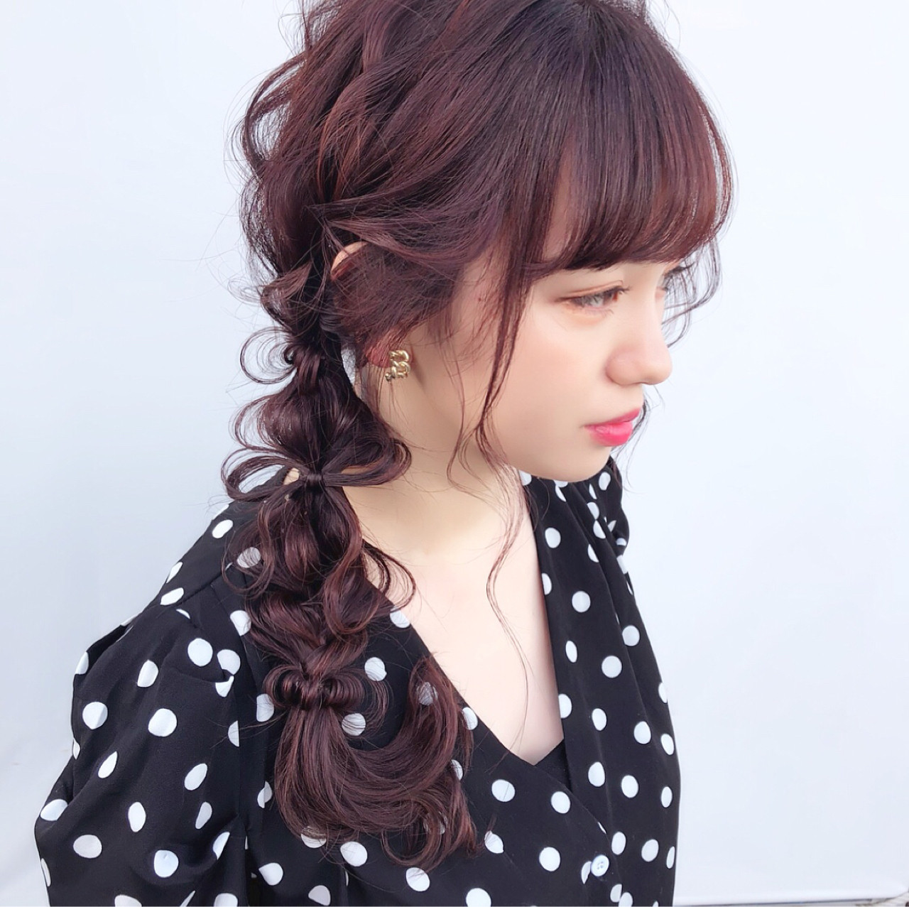 前髪ありのキュートな可愛い系アレンジ hii.de@✂︎