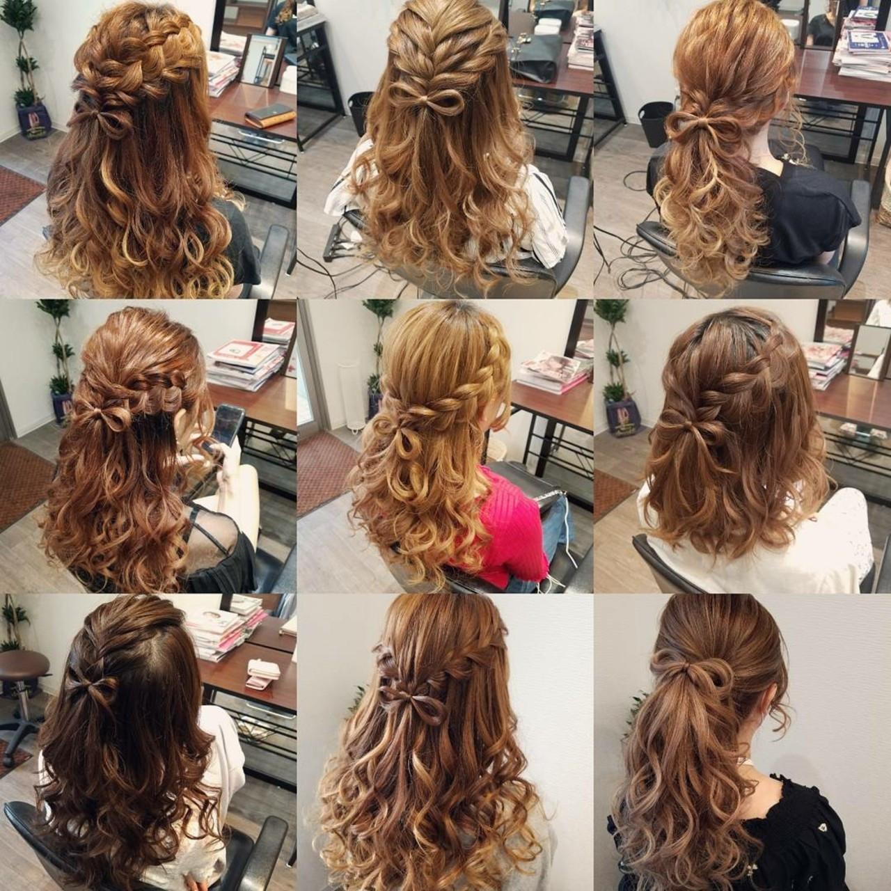 編み込み ハーフアップ ガーリー ヘアアレンジ ヘアスタイルや髪型の写真・画像