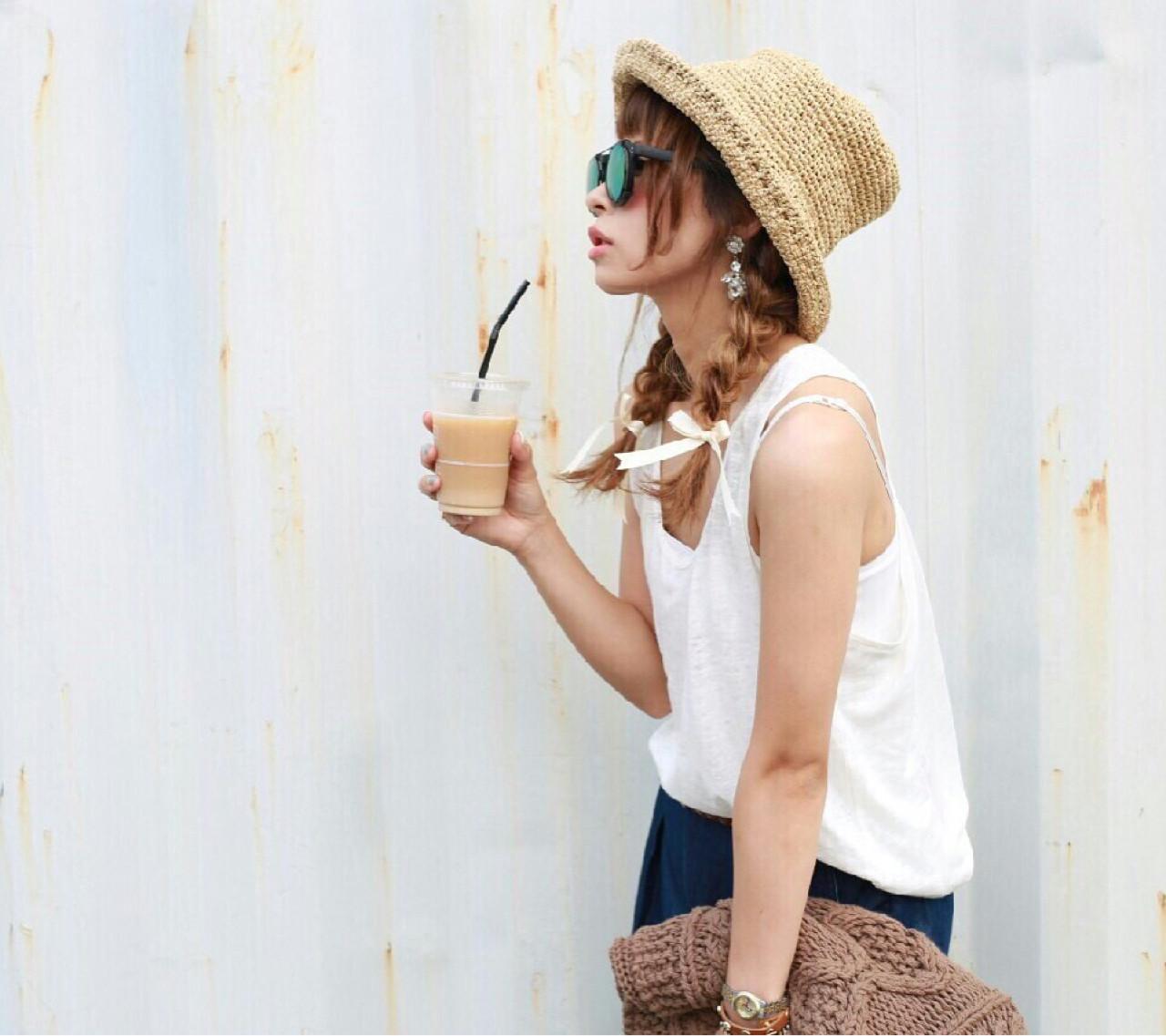 夏 ツインテール ヘアアレンジ セミロング ヘアスタイルや髪型の写真・画像