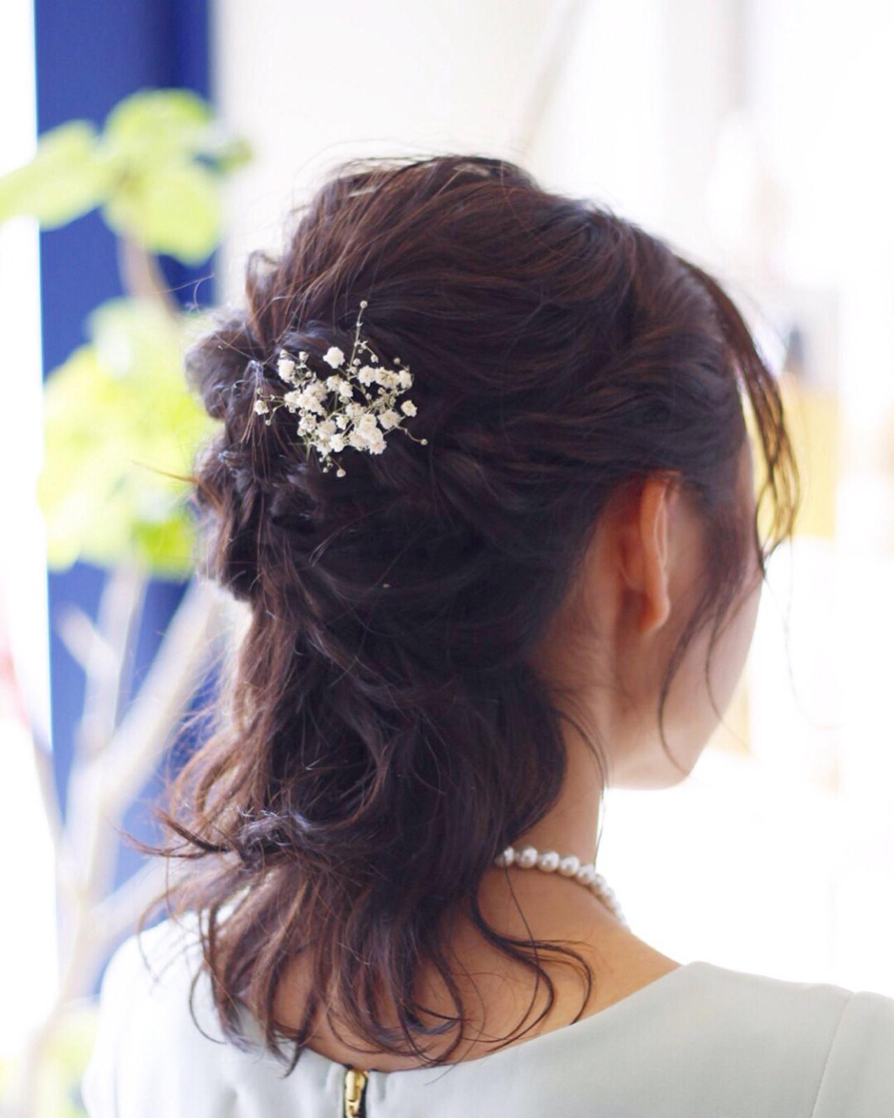 エレガント ヘアアレンジ 結婚式 ハーフアップ ヘアスタイルや髪型の写真・画像