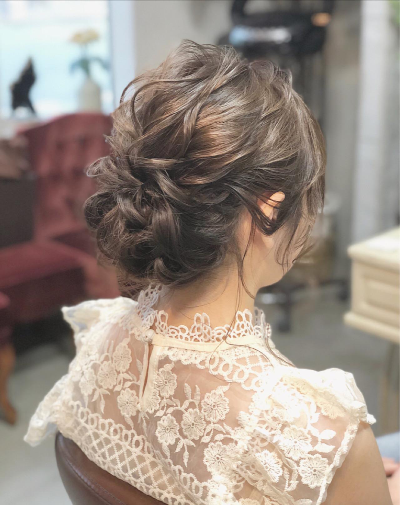 ミディアム 成人式 シニヨン 大人かわいい ヘアスタイルや髪型の写真・画像