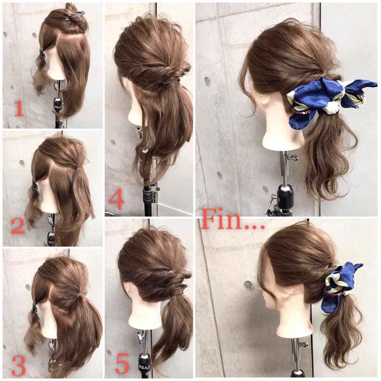 簡単ヘアアレンジ ナチュラル セミロング ゆるふわ ヘアスタイルや髪型の写真・画像