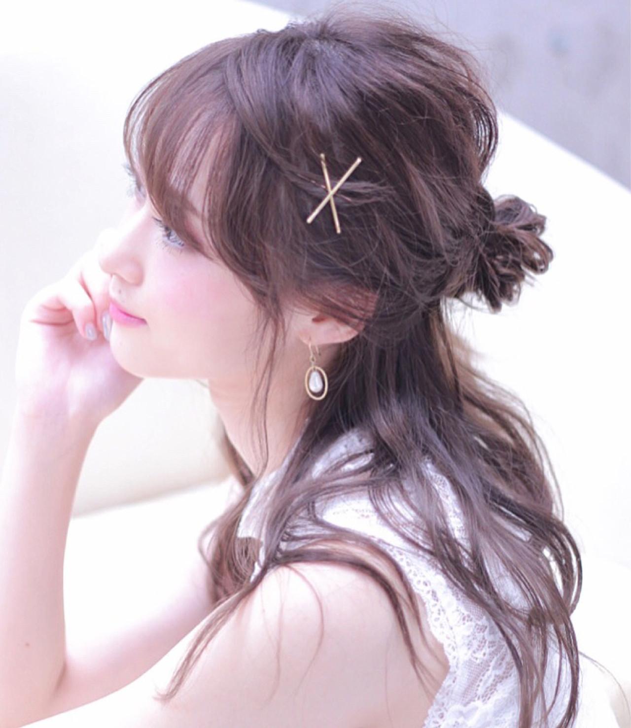 お団子 ハーフアップ フェミニン 女子会 ヘアスタイルや髪型の写真・画像