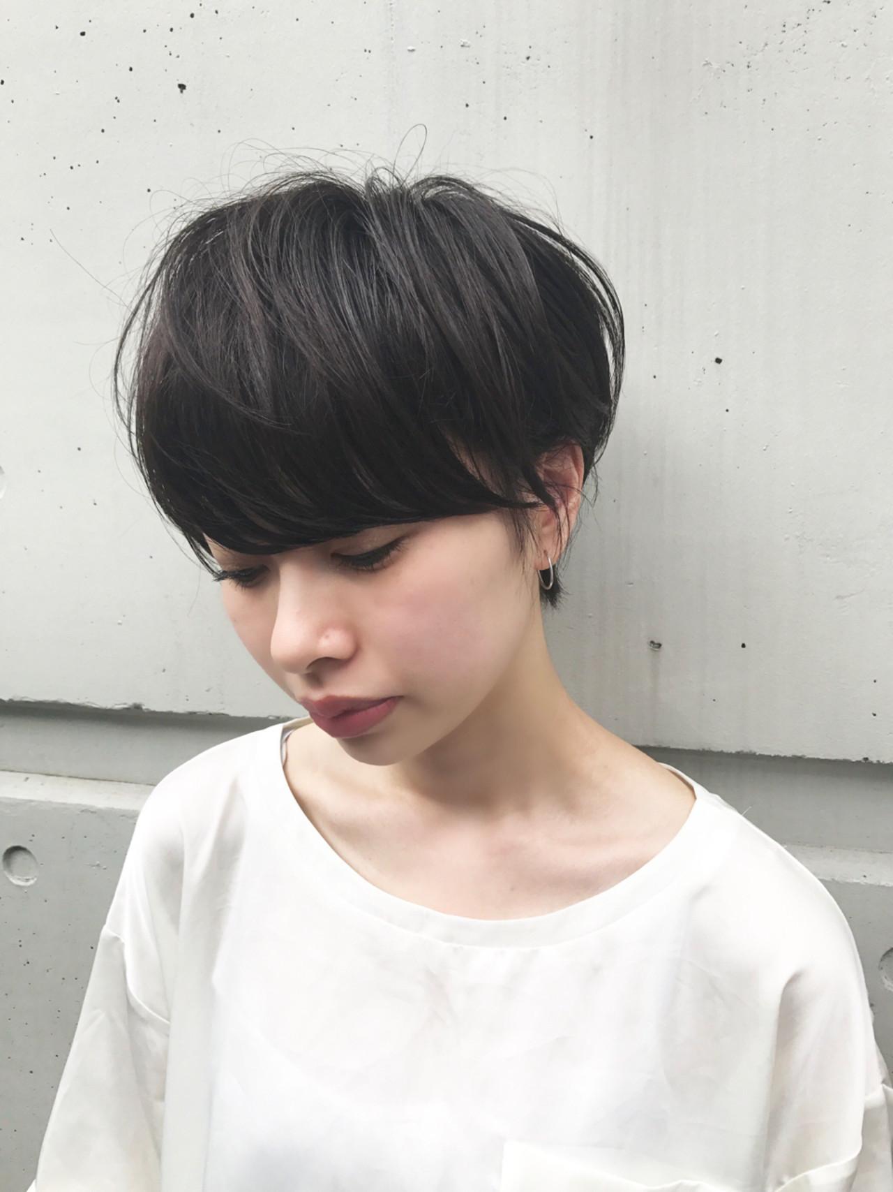 前髪あり ナチュラル 抜け感 ショート ヘアスタイルや髪型の写真・画像