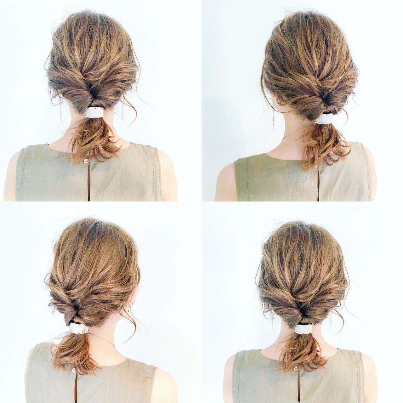 オフィス 女子会 簡単ヘアアレンジ セミロング ヘアスタイルや髪型の写真・画像