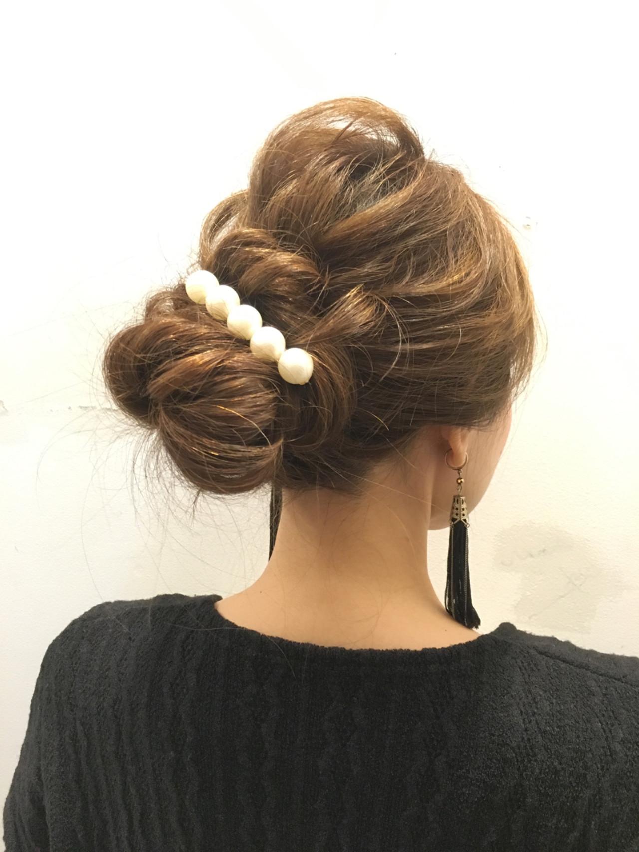 大人女子 くるりんぱ 簡単ヘアアレンジ 結婚式 ヘアスタイルや髪型の写真・画像