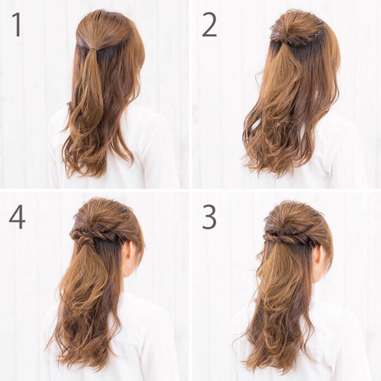 ハーフアップ 女子会 簡単ヘアアレンジ ナチュラル ヘアスタイルや髪型の写真・画像