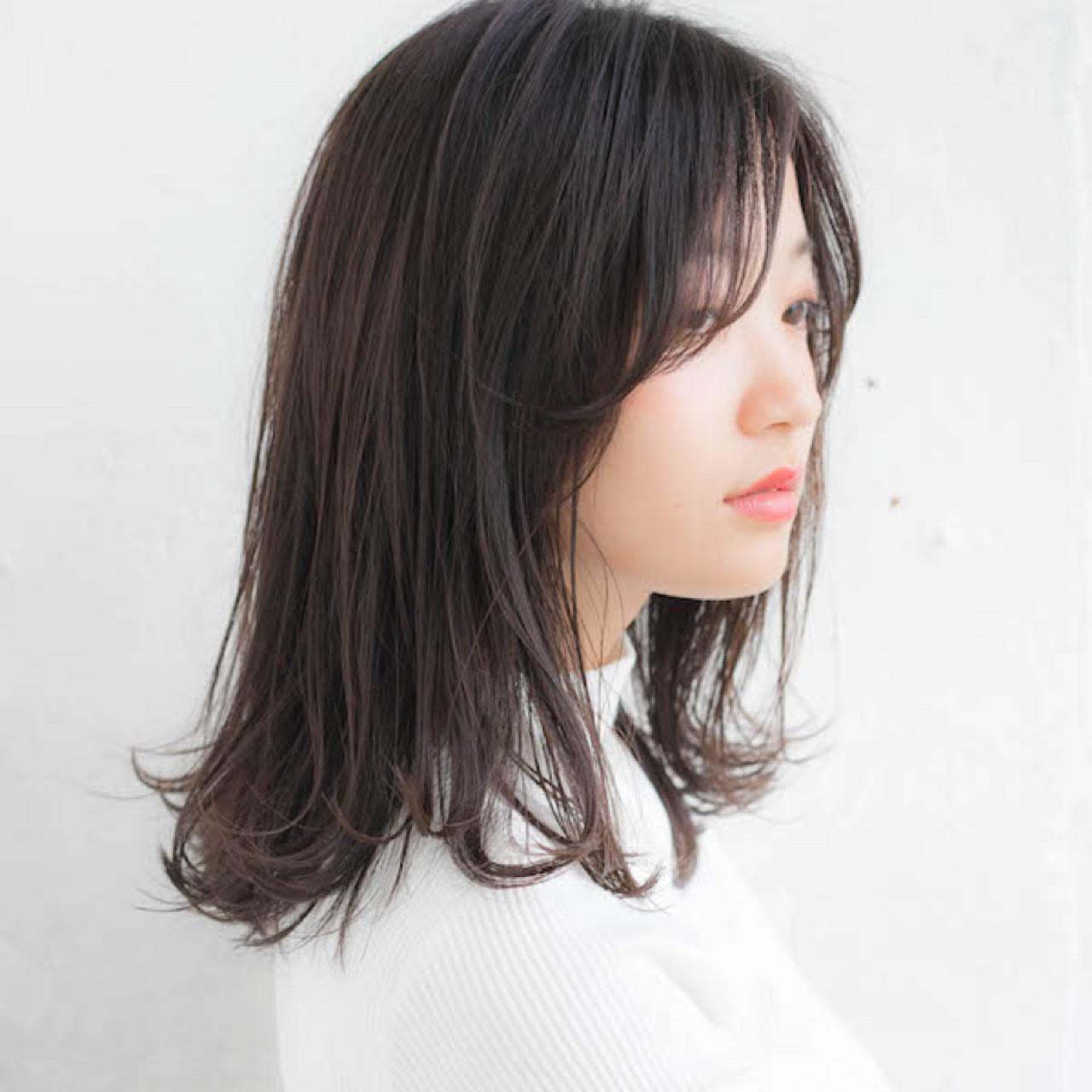 大人かわいい 前髪あり 抜け感 ミディアム ヘアスタイルや髪型の写真・画像