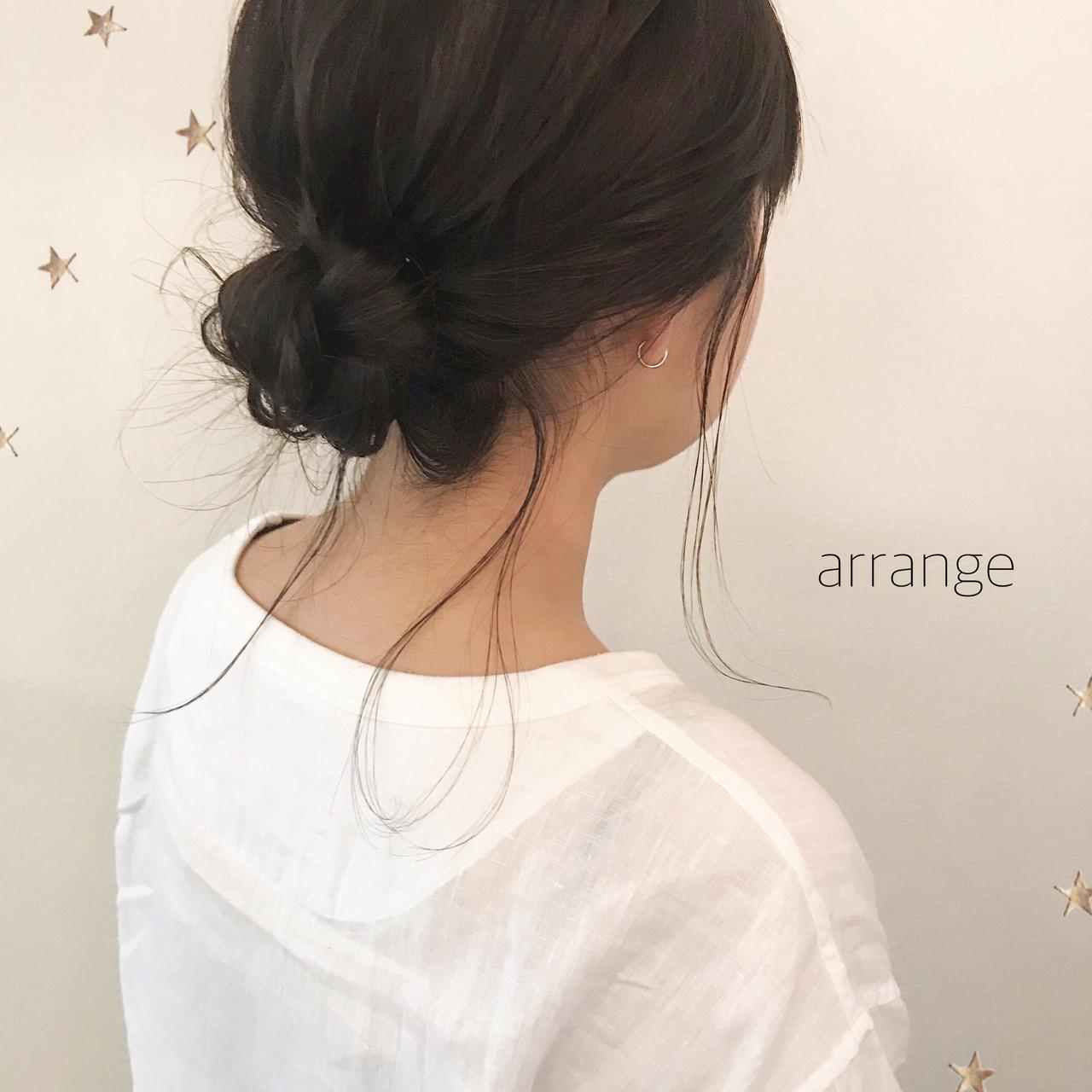 ミディアム ヘアアレンジ デート こなれ感 ヘアスタイルや髪型の写真・画像