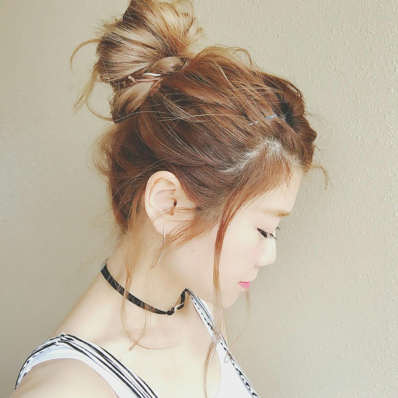 涼しげ 色気 お団子 ハイライト ヘアスタイルや髪型の写真・画像