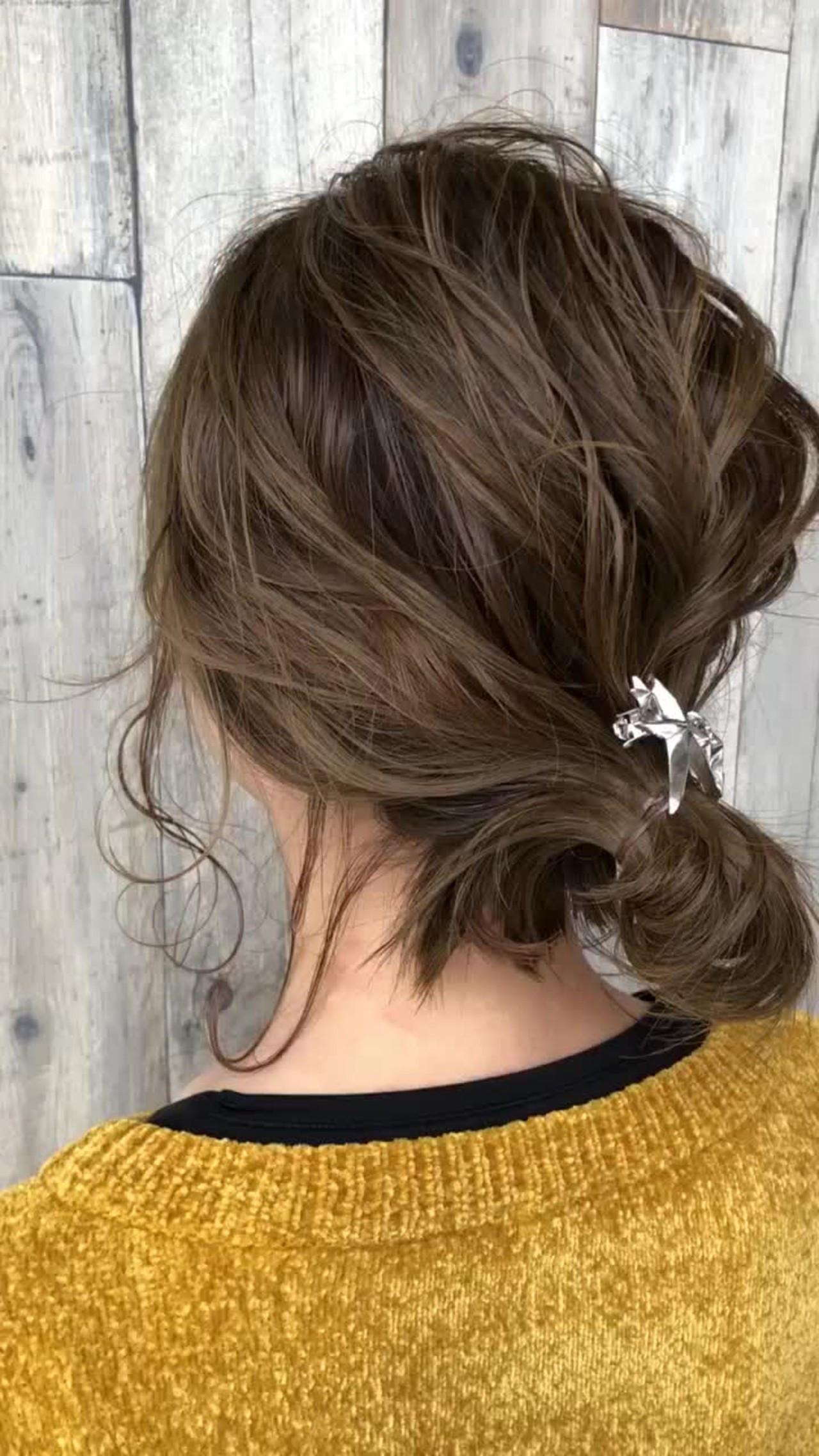 簡単ヘアアレンジ お団子 イルミナカラー ナチュラル ヘアスタイルや髪型の写真・画像