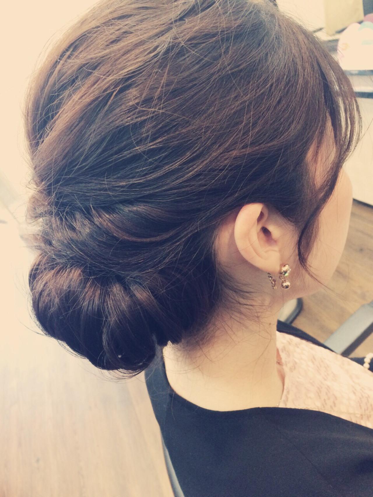 ヘアアレンジ ミディアム まとめ髪 結婚式 ヘアスタイルや髪型の写真・画像