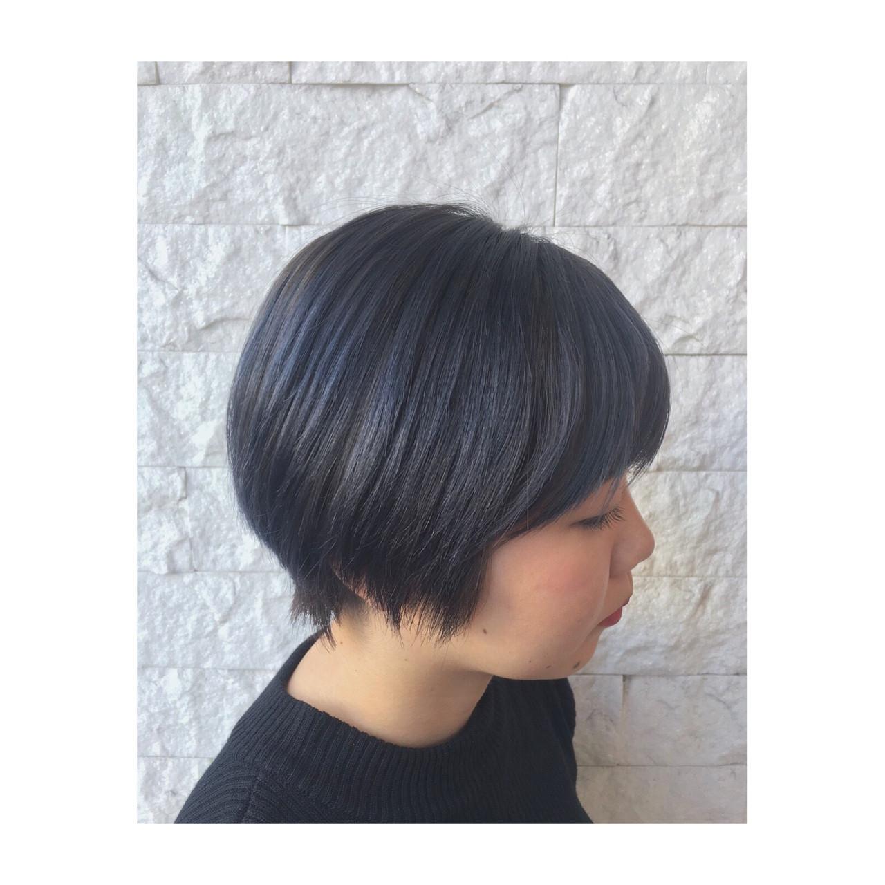 ストリート ブルーアッシュ ブルー ネイビー ヘアスタイルや髪型の写真・画像