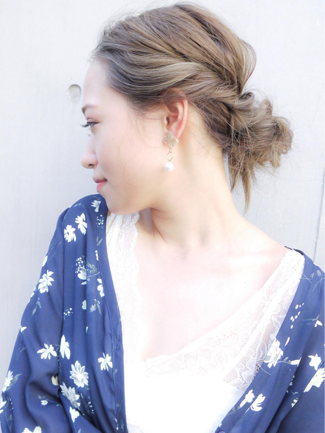 夏 ヘアアレンジ コンサバ セミロング ヘアスタイルや髪型の写真・画像