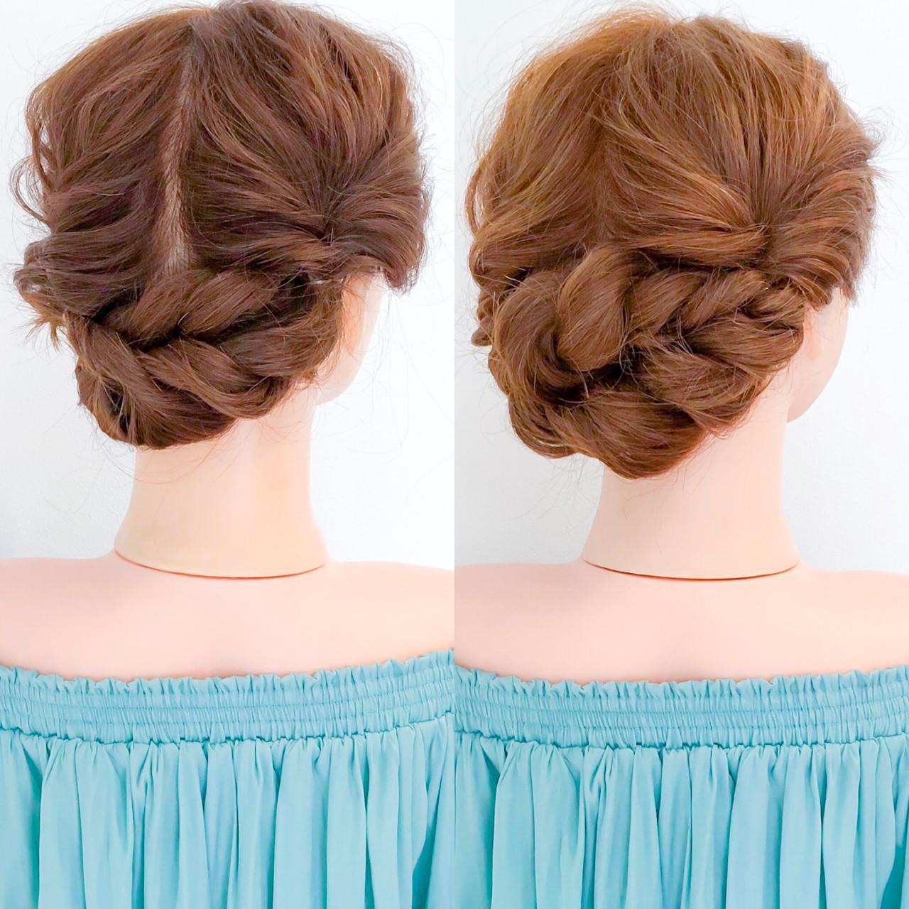 簡単ヘアアレンジ 上品 エレガント セルフヘアアレンジ ヘアスタイルや髪型の写真・画像