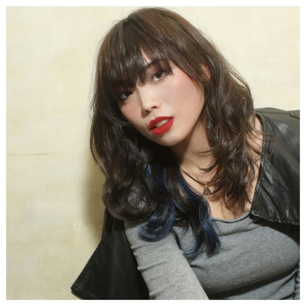 モード 暗髪 ロング うざバング ヘアスタイルや髪型の写真・画像