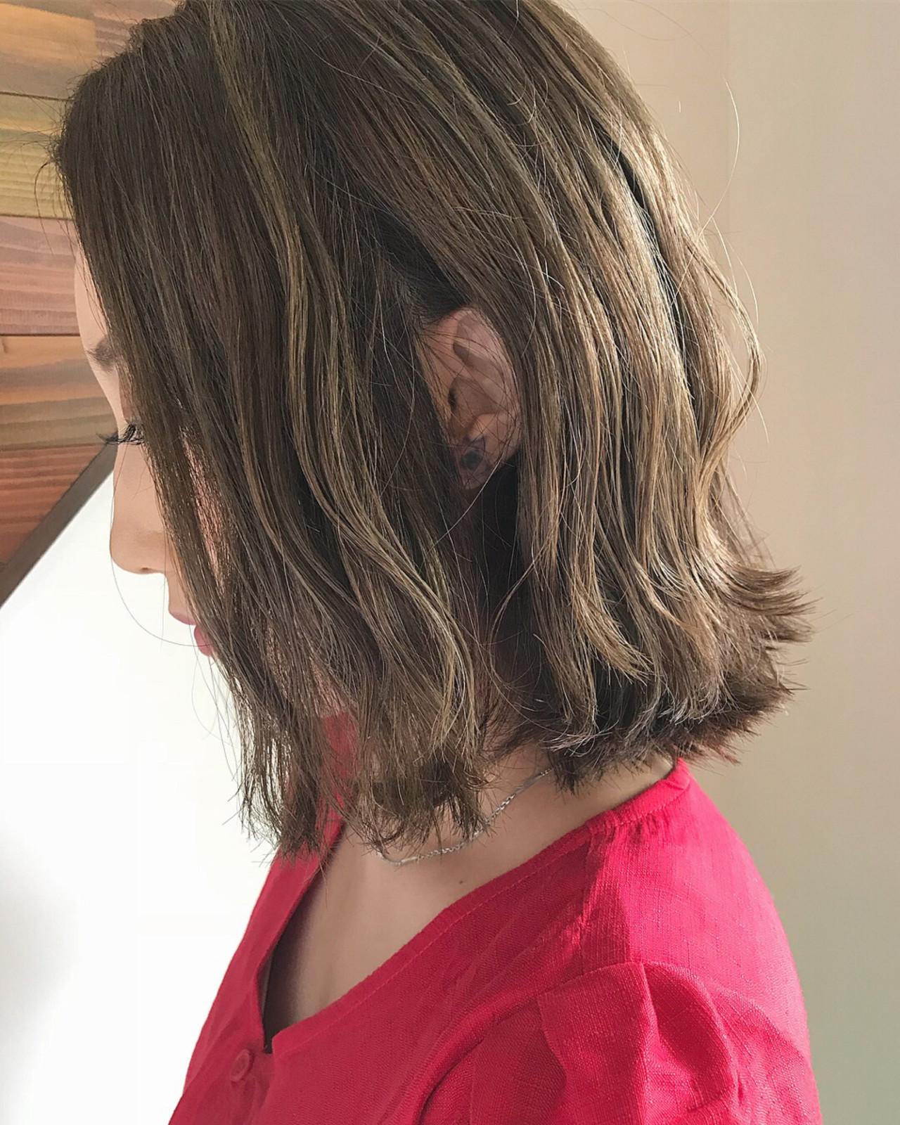 波ウェーブ ボブ ガーリー 切りっぱなし ヘアスタイルや髪型の写真・画像