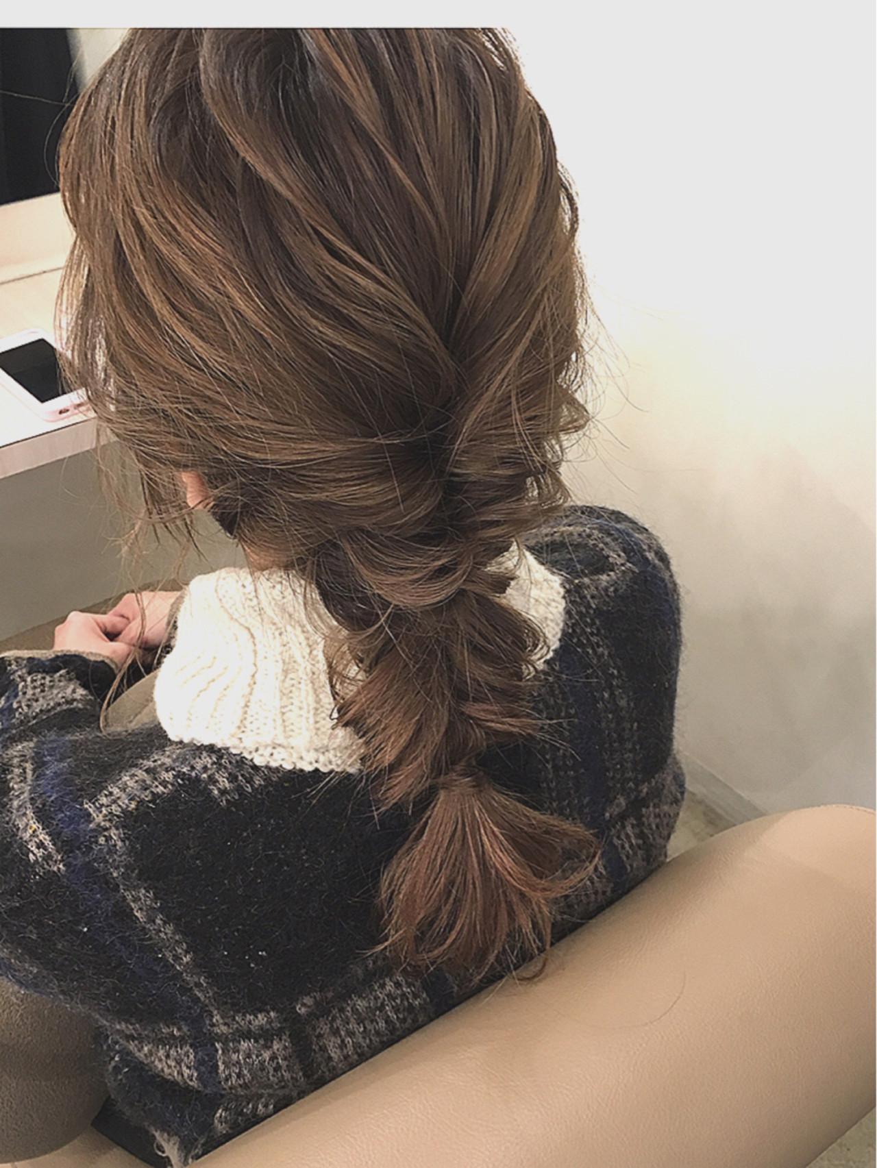くるりんぱ ガーリー 簡単ヘアアレンジ セミロング ヘアスタイルや髪型の写真・画像