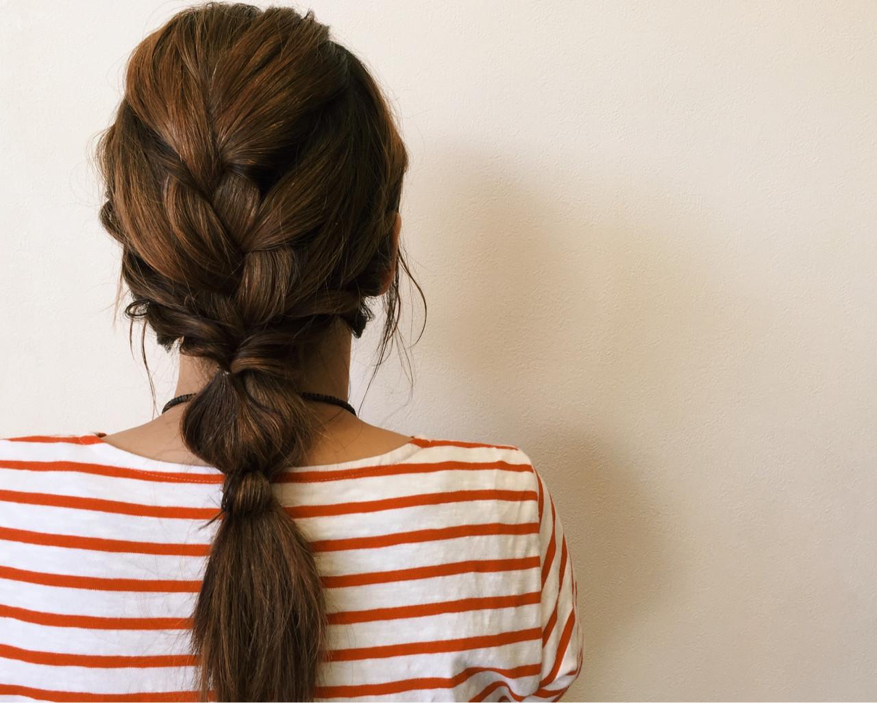 編み込み 簡単ヘアアレンジ セミロング ヘアアレンジ ヘアスタイルや髪型の写真・画像
