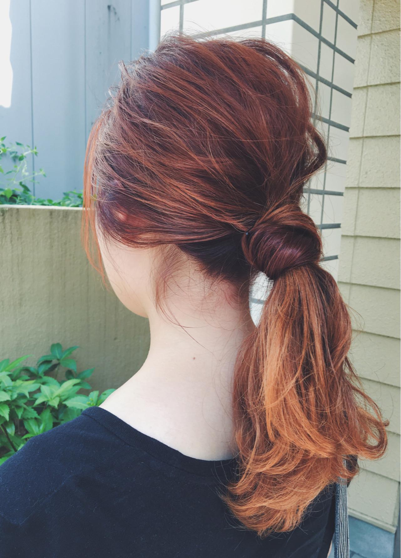 ミディアム イエロー ナチュラル 簡単ヘアアレンジ ヘアスタイルや髪型の写真・画像