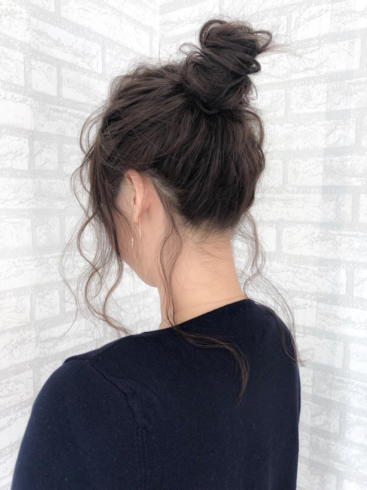 エレガント お団子 セミロング 簡単ヘアアレンジ ヘアスタイルや髪型の写真・画像