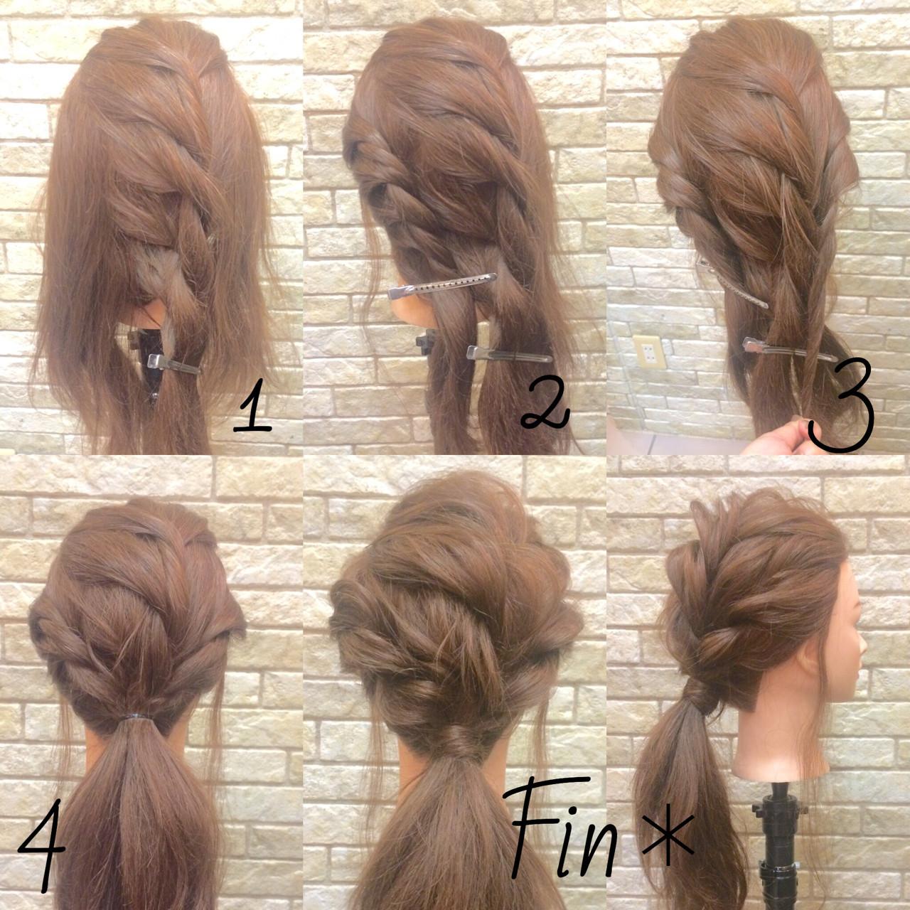 簡単ヘアアレンジ ロング ねじり ヘアアレンジ ヘアスタイルや髪型の写真・画像