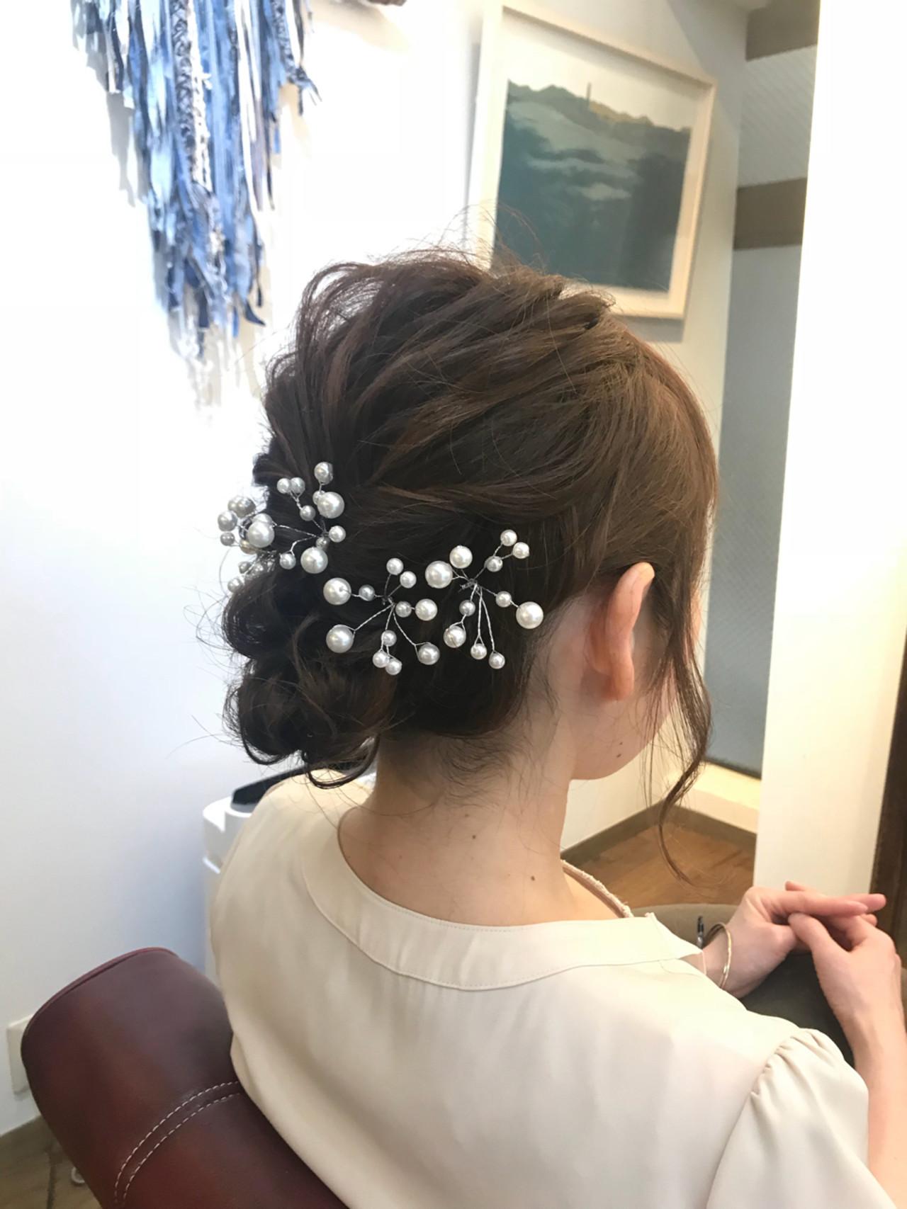 ウェーブ ヘアアレンジ ナチュラル セミロング ヘアスタイルや髪型の写真・画像