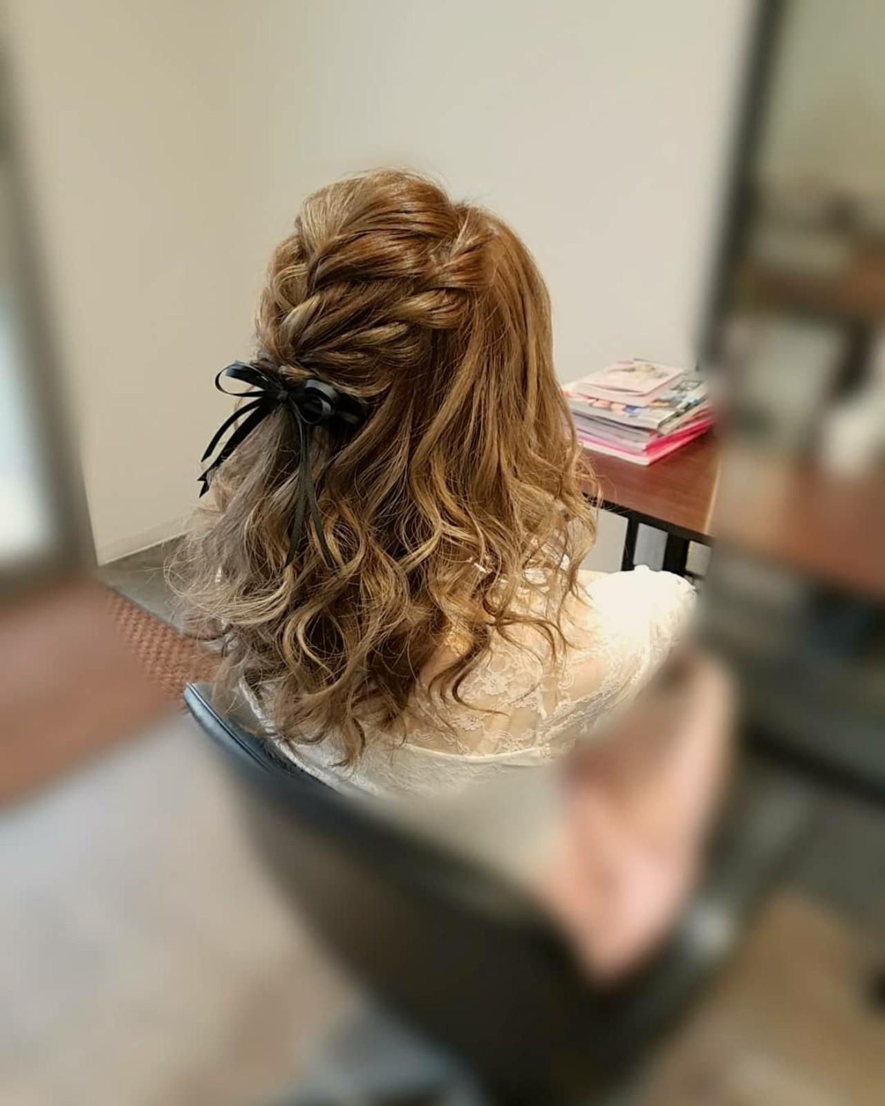 ガーリー セミロング ハーフアップ ヘアスタイルや髪型の写真・画像