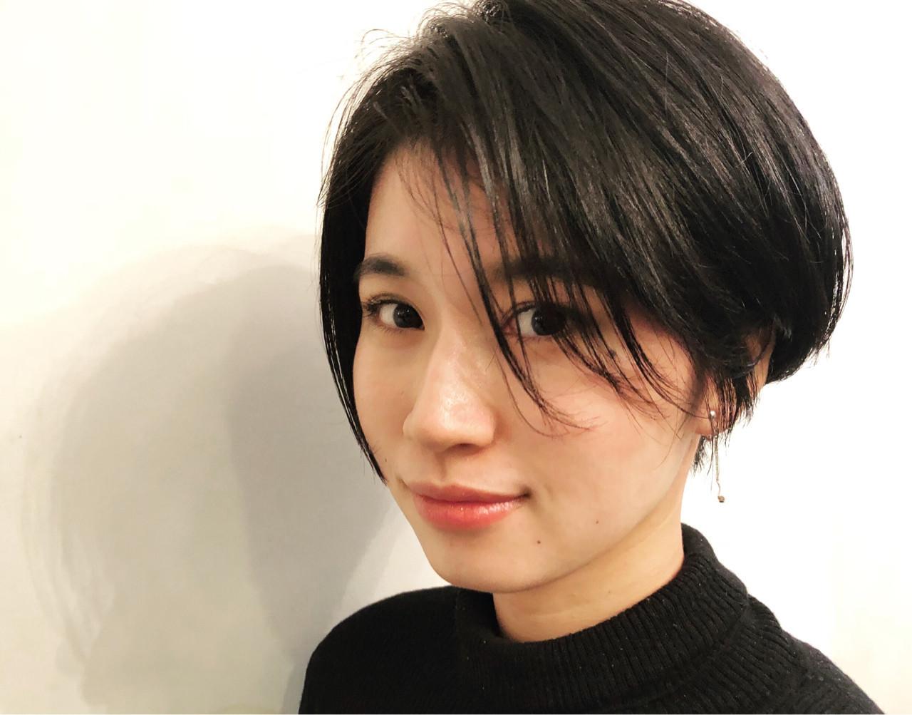 艶髪 似合わせ モード ショート ヘアスタイルや髪型の写真・画像